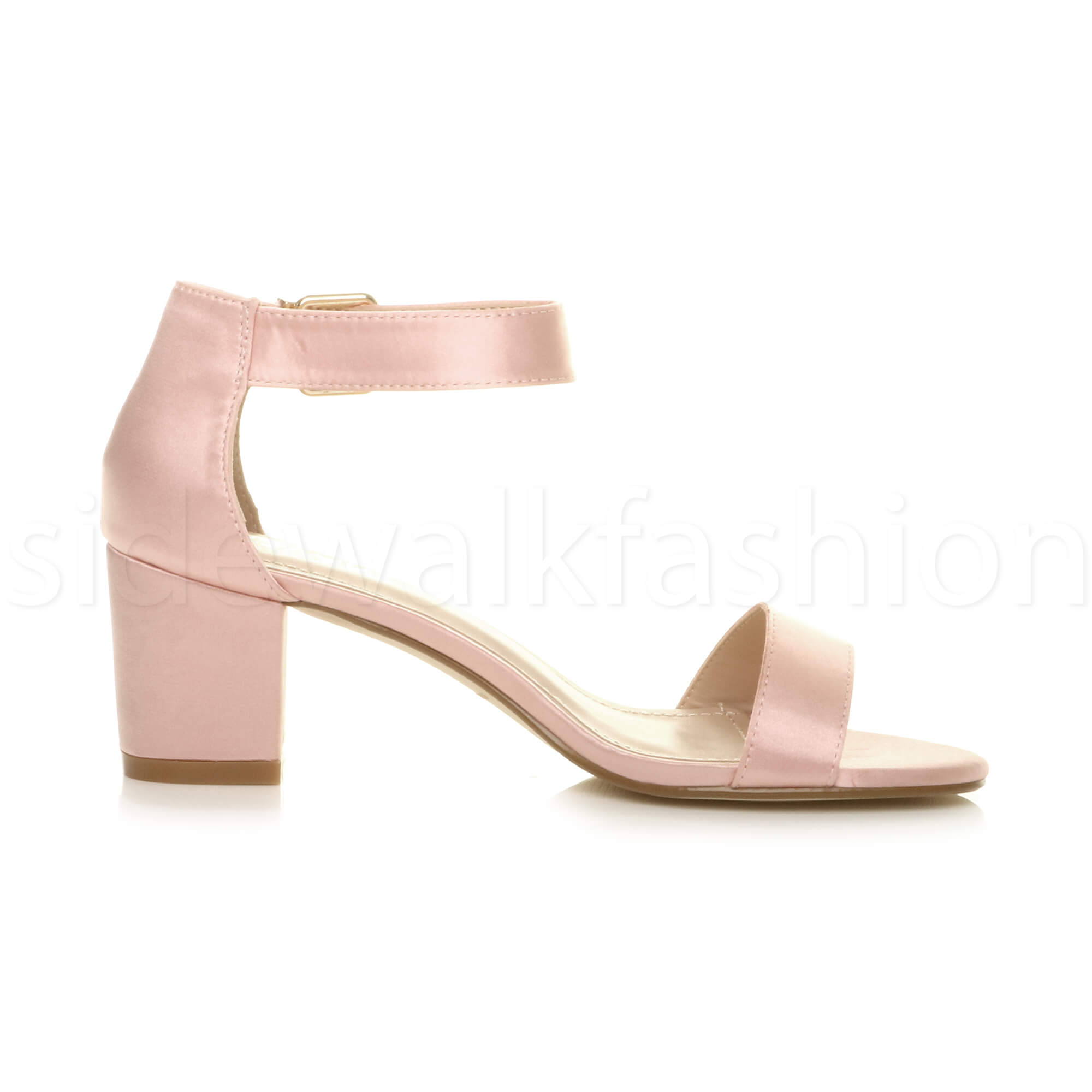 Womens-ladies-low-mid-heel-buckle-ankle-strap-peep-toe-party-strappy-sandal-size thumbnail 4