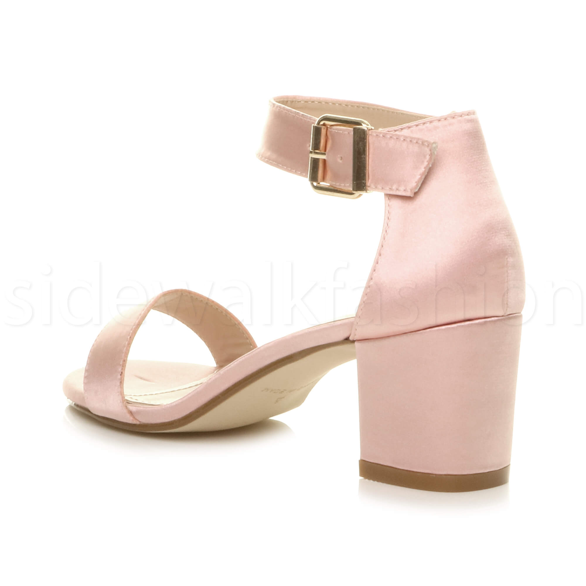 Womens-ladies-low-mid-heel-buckle-ankle-strap-peep-toe-party-strappy-sandal-size thumbnail 5