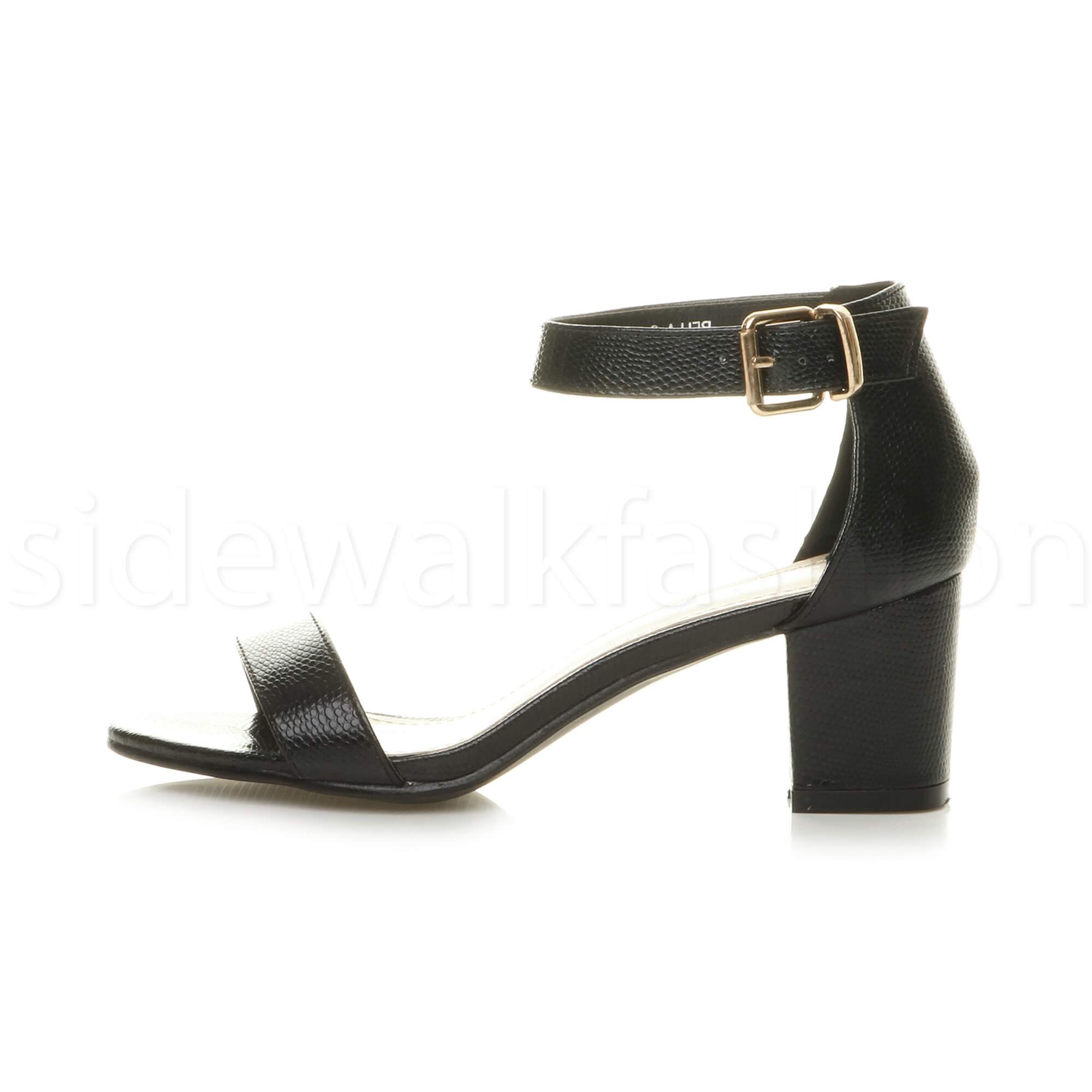 Womens-ladies-low-mid-heel-buckle-ankle-strap-peep-toe-party-strappy-sandal-size thumbnail 24