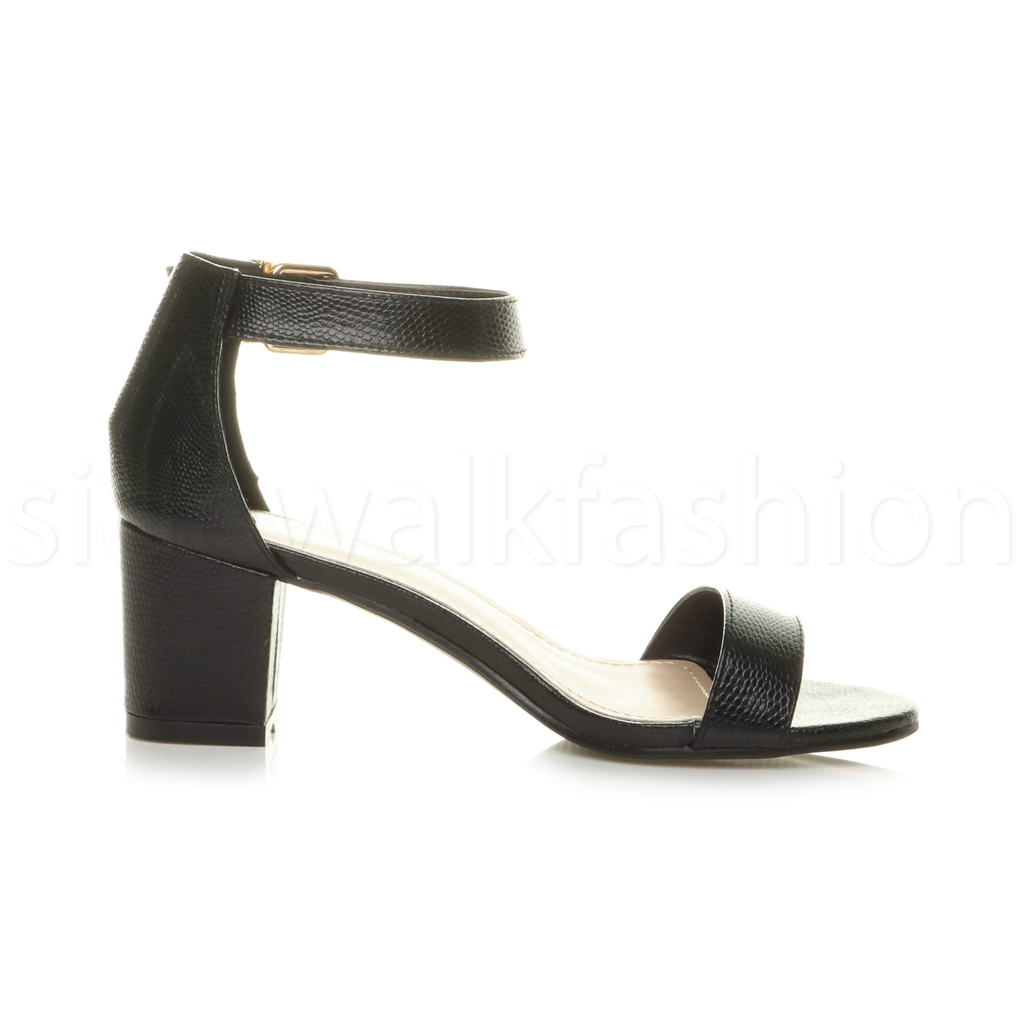 Womens-ladies-low-mid-heel-buckle-ankle-strap-peep-toe-party-strappy-sandal-size thumbnail 25