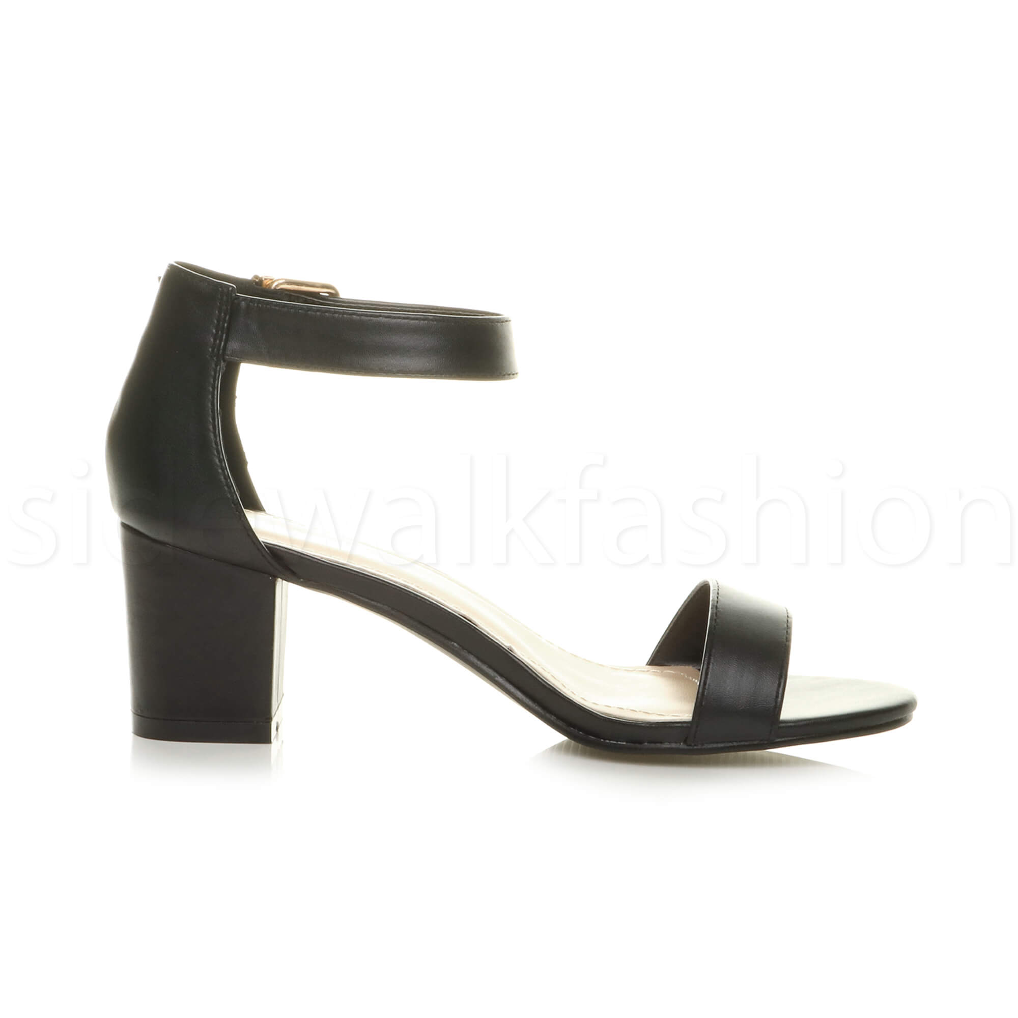 Womens-ladies-low-mid-heel-buckle-ankle-strap-peep-toe-party-strappy-sandal-size thumbnail 32