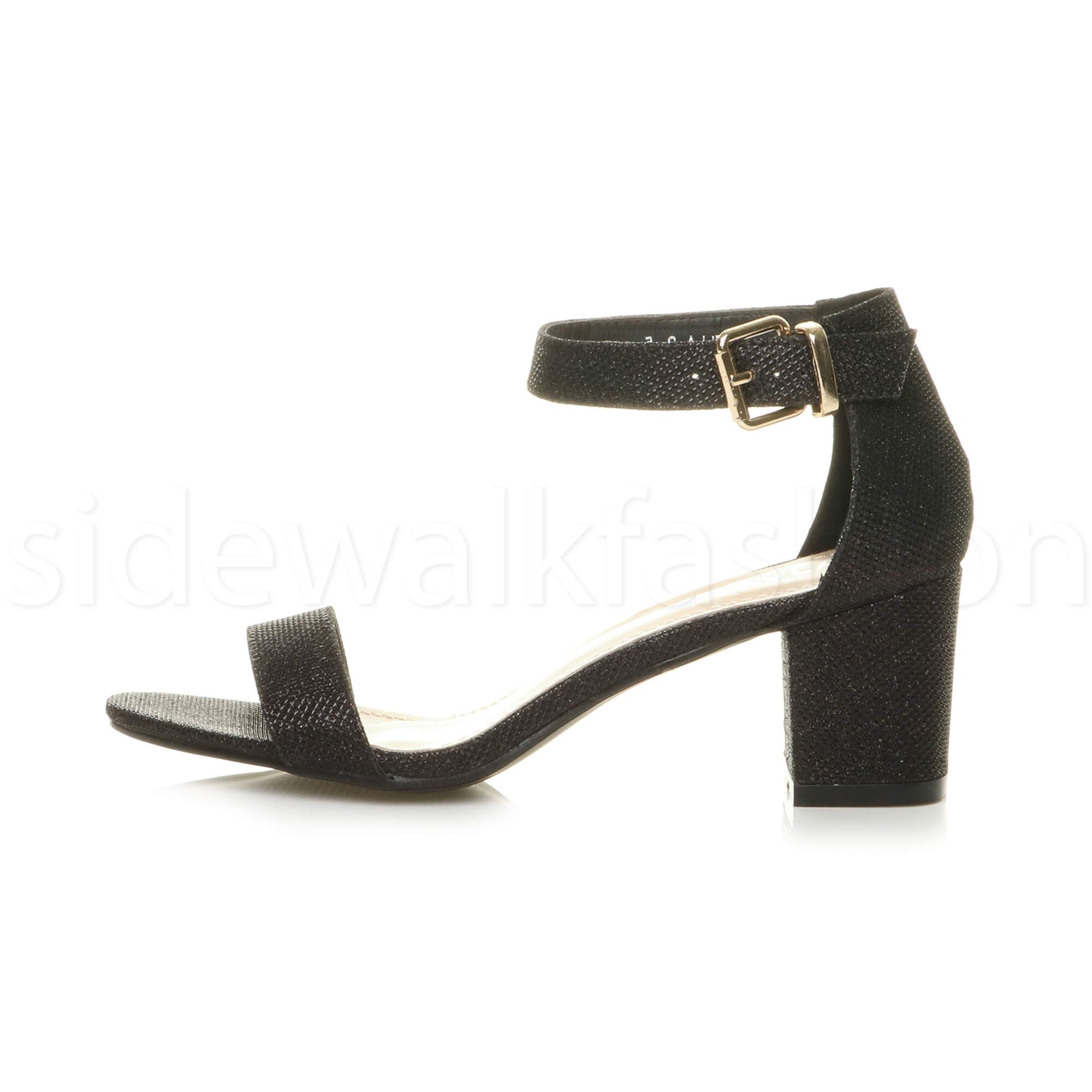 Womens-ladies-low-mid-heel-buckle-ankle-strap-peep-toe-party-strappy-sandal-size thumbnail 17
