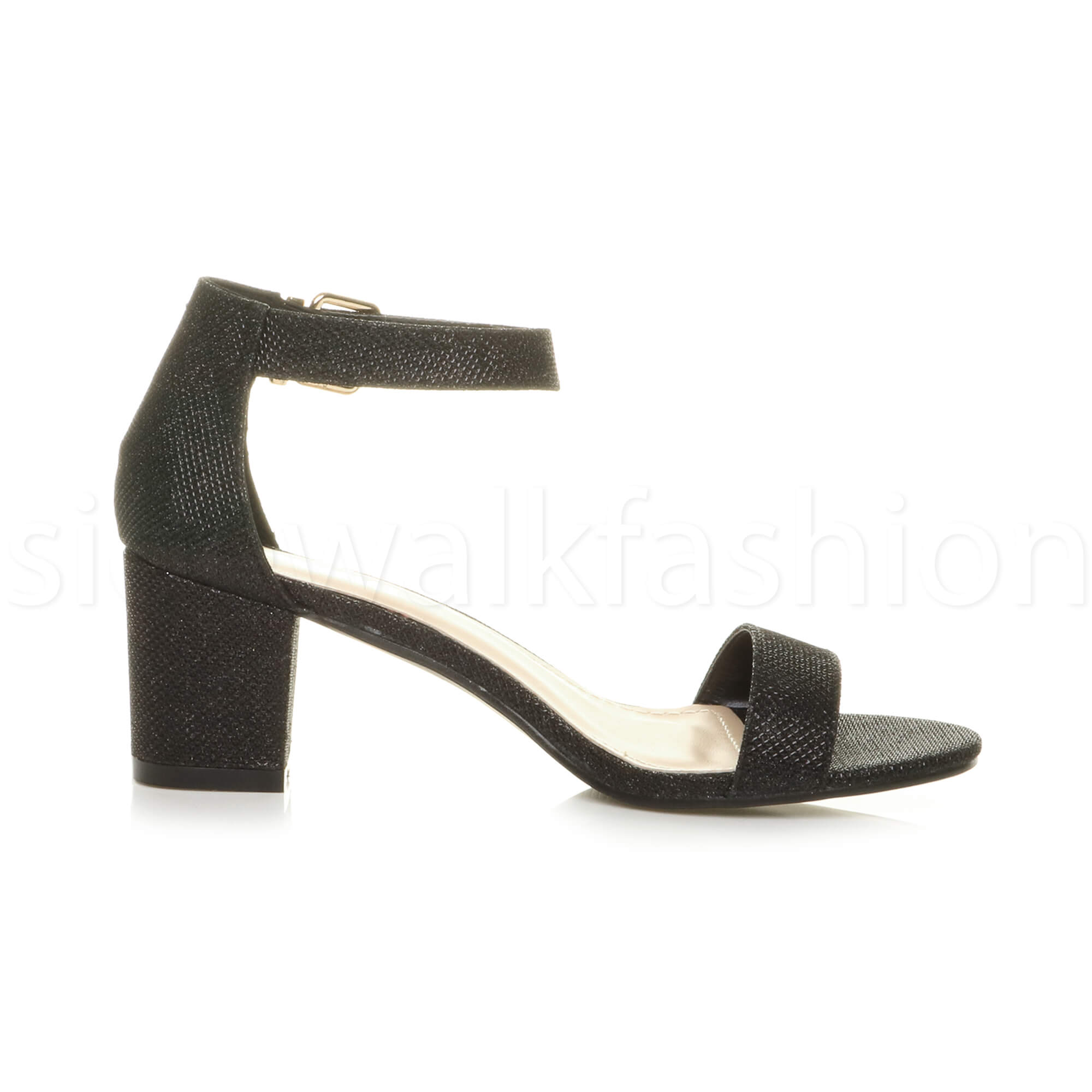 Womens-ladies-low-mid-heel-buckle-ankle-strap-peep-toe-party-strappy-sandal-size thumbnail 18