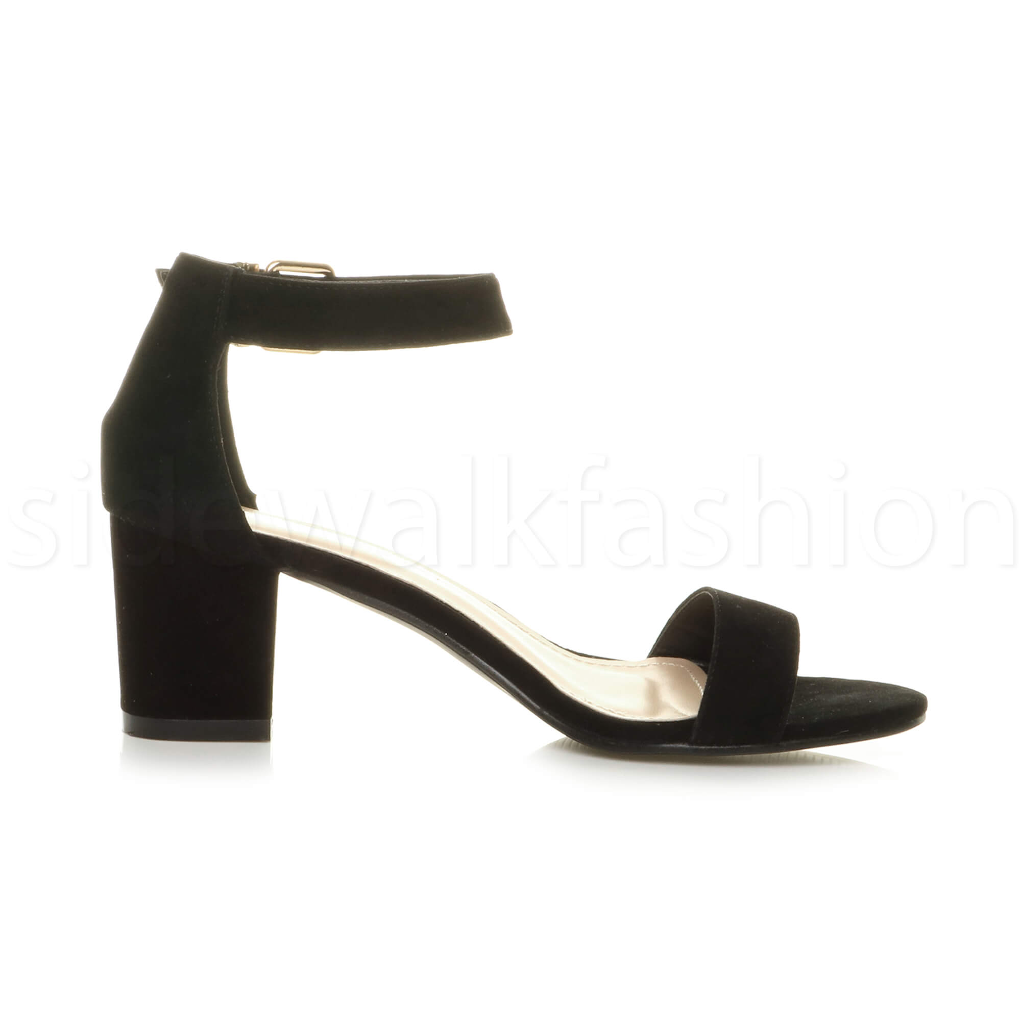 Womens-ladies-low-mid-heel-buckle-ankle-strap-peep-toe-party-strappy-sandal-size thumbnail 39