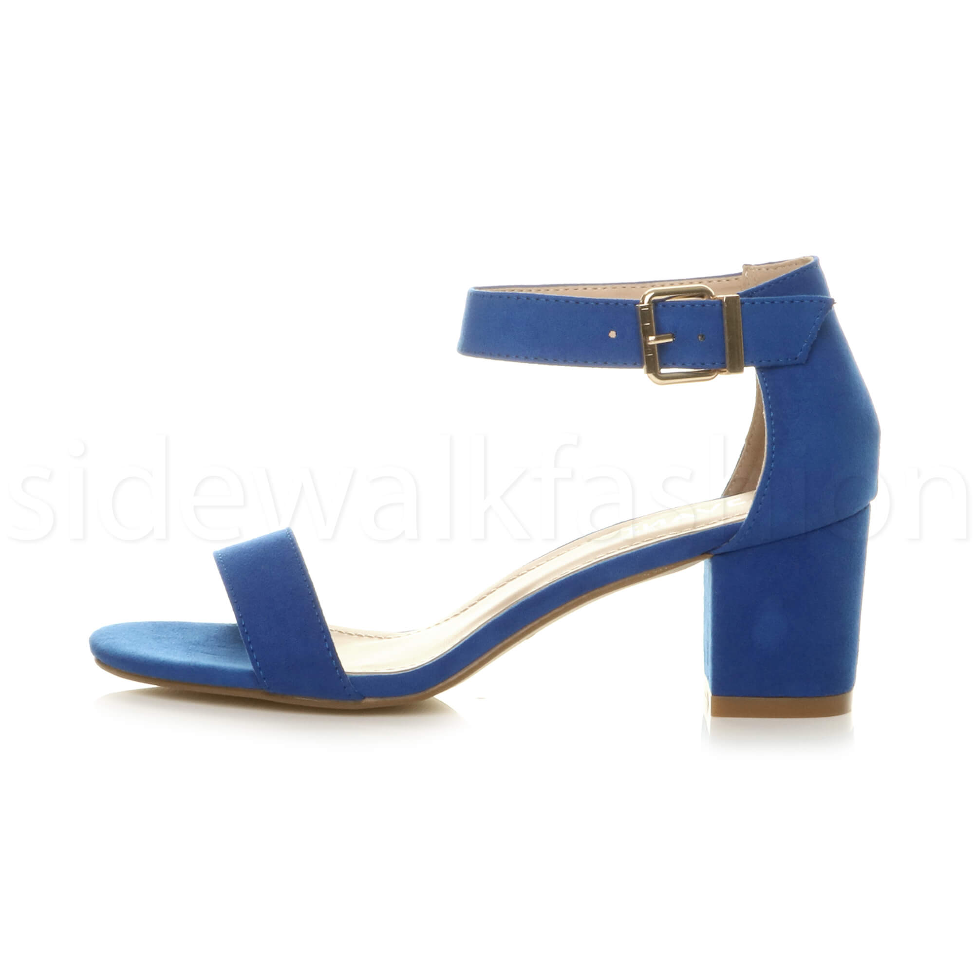 Womens-ladies-low-mid-heel-buckle-ankle-strap-peep-toe-party-strappy-sandal-size thumbnail 45