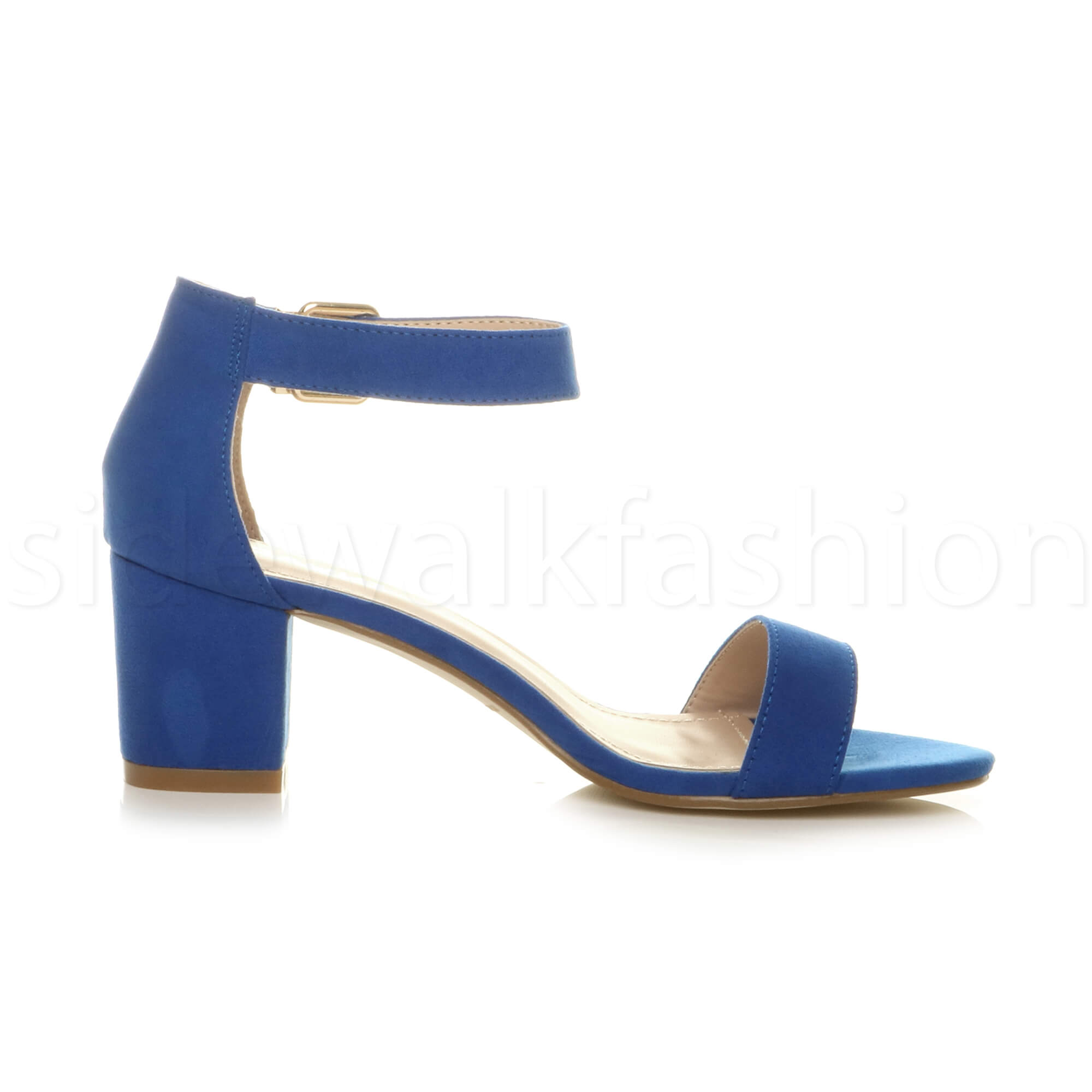 Womens-ladies-low-mid-heel-buckle-ankle-strap-peep-toe-party-strappy-sandal-size thumbnail 46