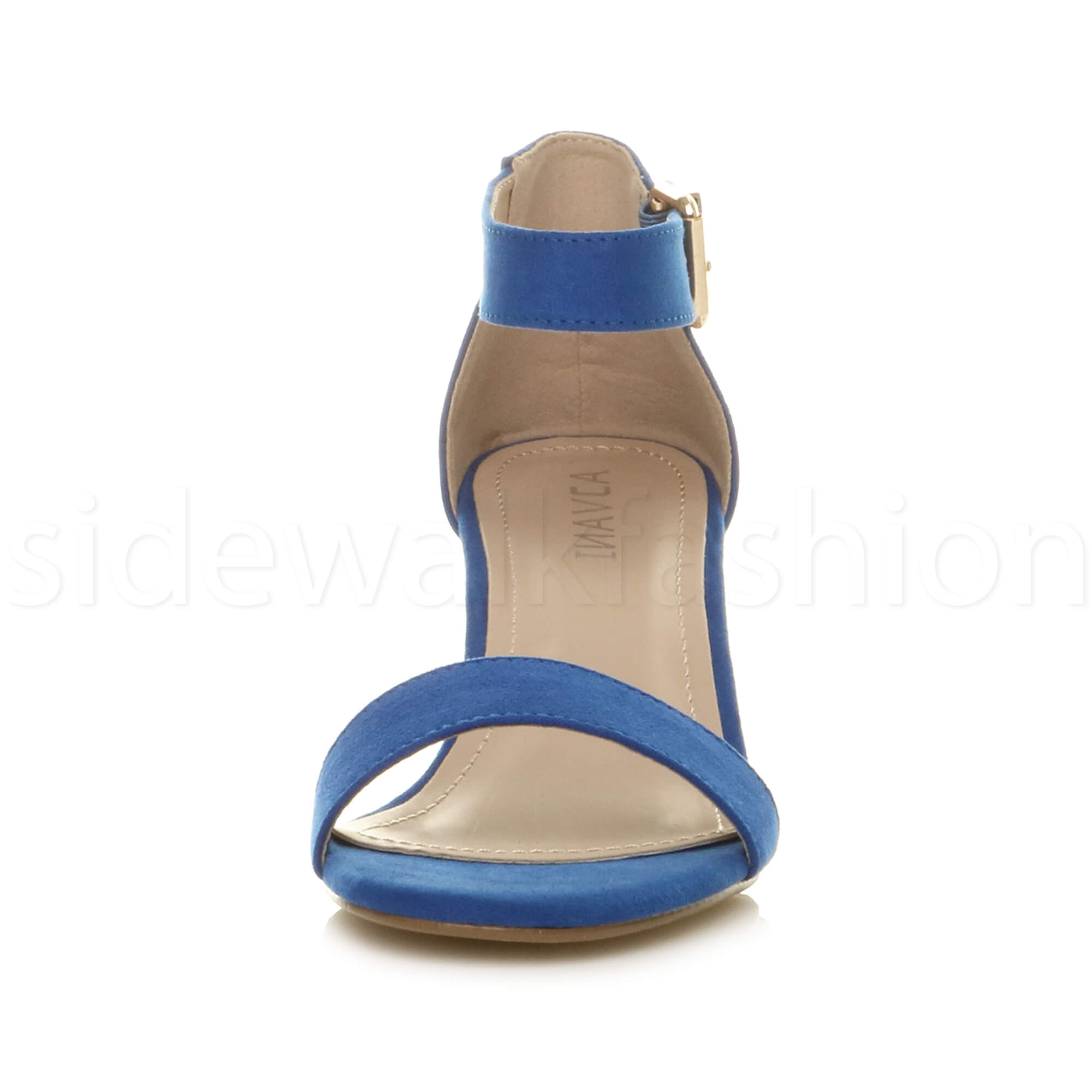 Womens-ladies-low-mid-heel-buckle-ankle-strap-peep-toe-party-strappy-sandal-size thumbnail 48