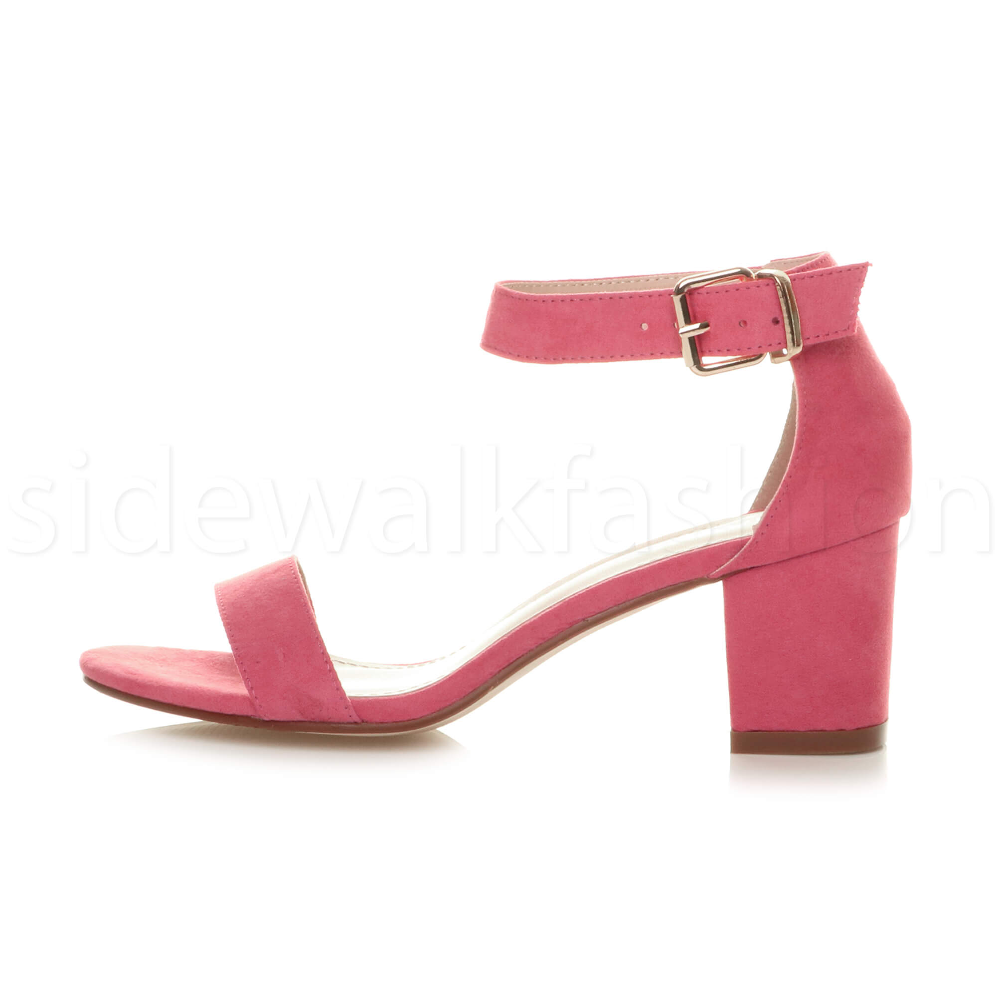 Womens-ladies-low-mid-heel-buckle-ankle-strap-peep-toe-party-strappy-sandal-size thumbnail 52