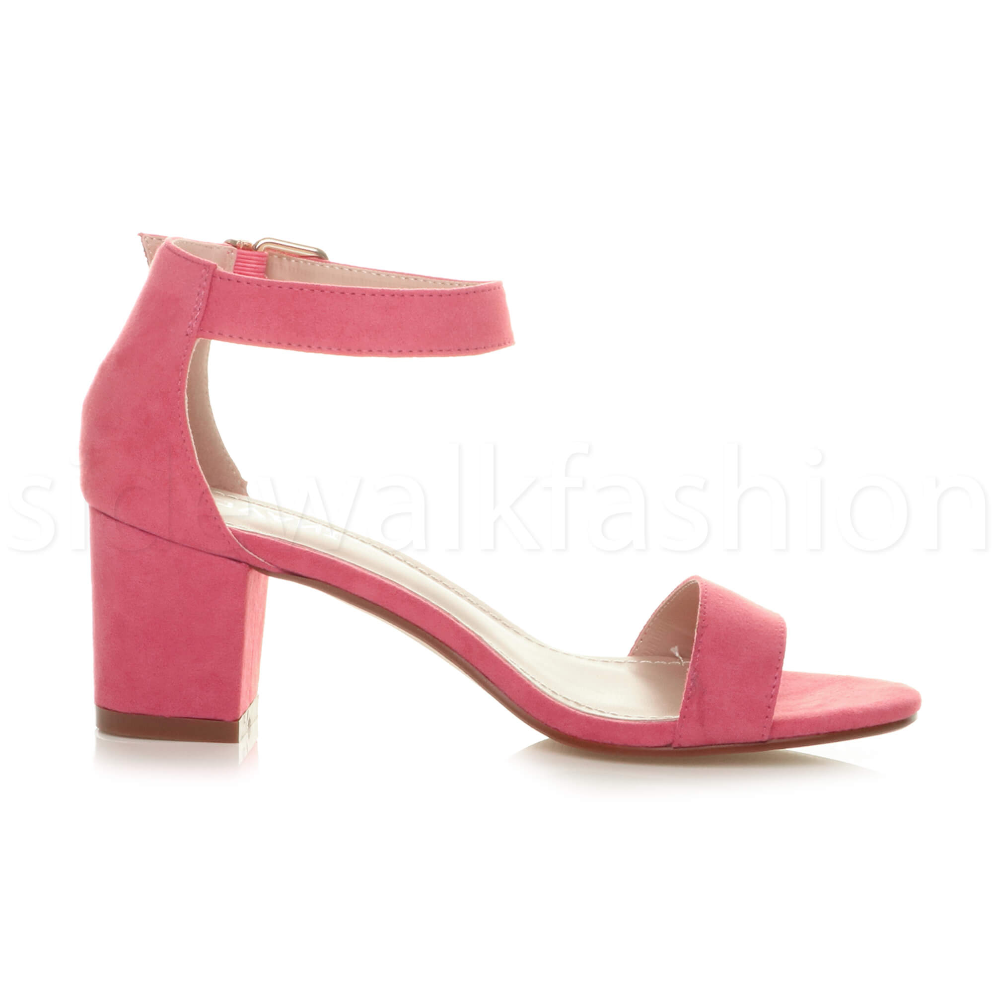 Womens-ladies-low-mid-heel-buckle-ankle-strap-peep-toe-party-strappy-sandal-size thumbnail 53