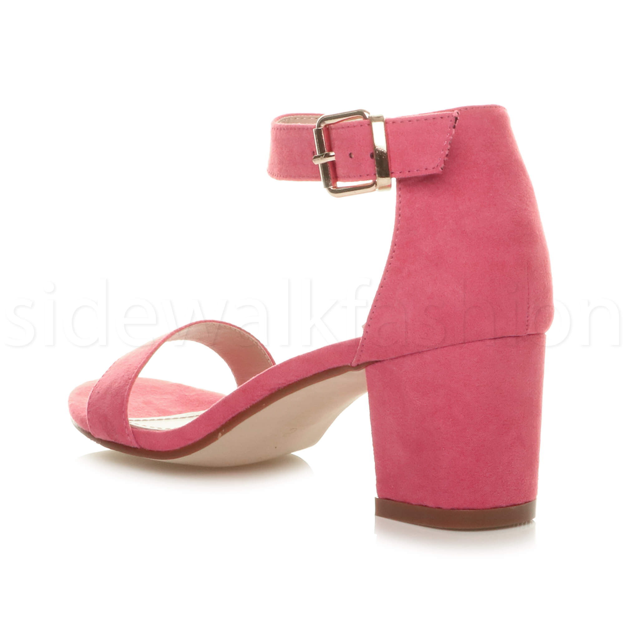 Womens-ladies-low-mid-heel-buckle-ankle-strap-peep-toe-party-strappy-sandal-size thumbnail 54
