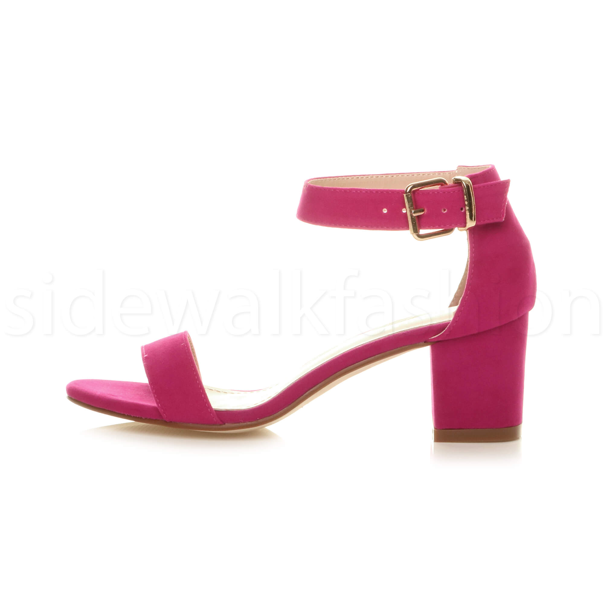 Womens-ladies-low-mid-heel-buckle-ankle-strap-peep-toe-party-strappy-sandal-size thumbnail 59