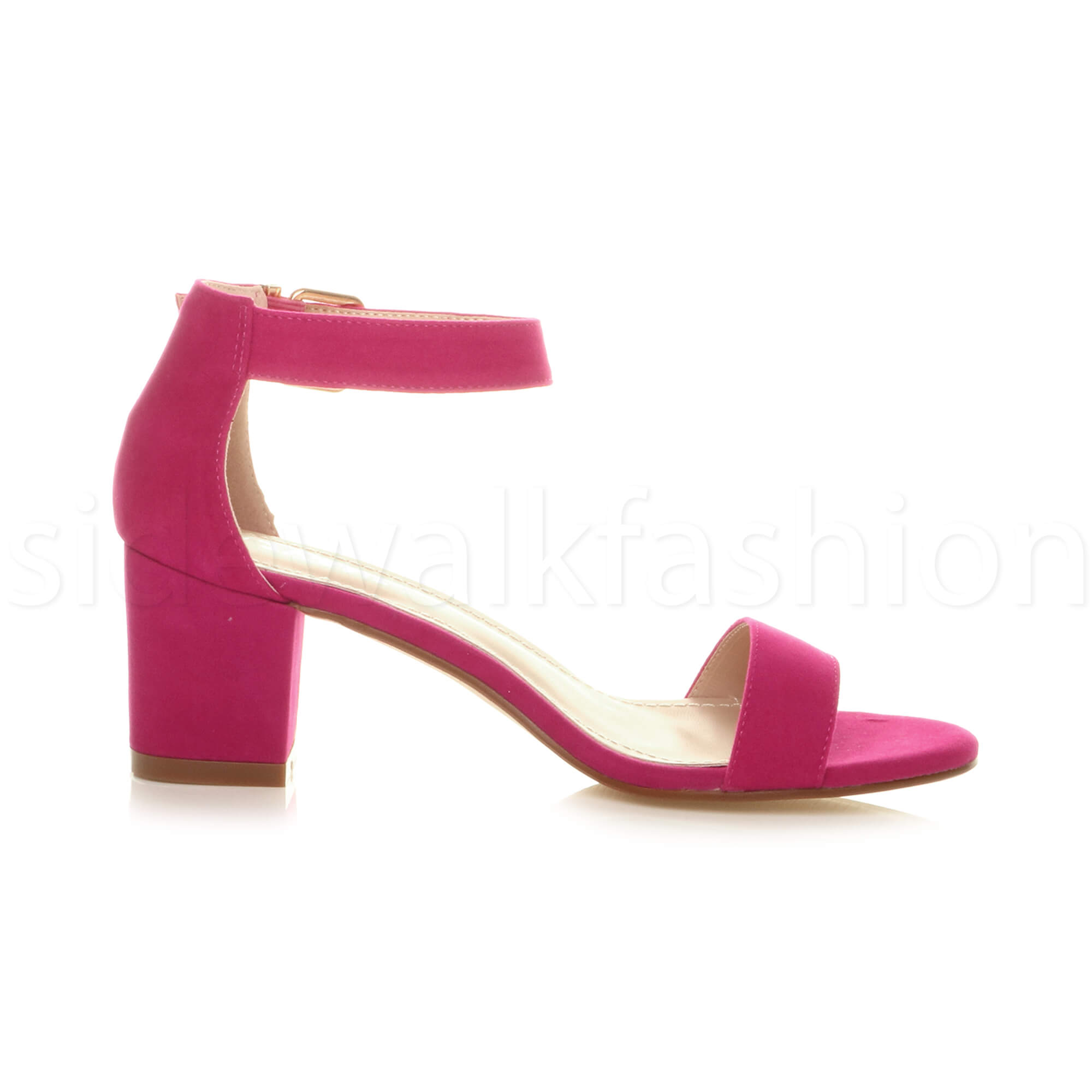 Womens-ladies-low-mid-heel-buckle-ankle-strap-peep-toe-party-strappy-sandal-size thumbnail 60