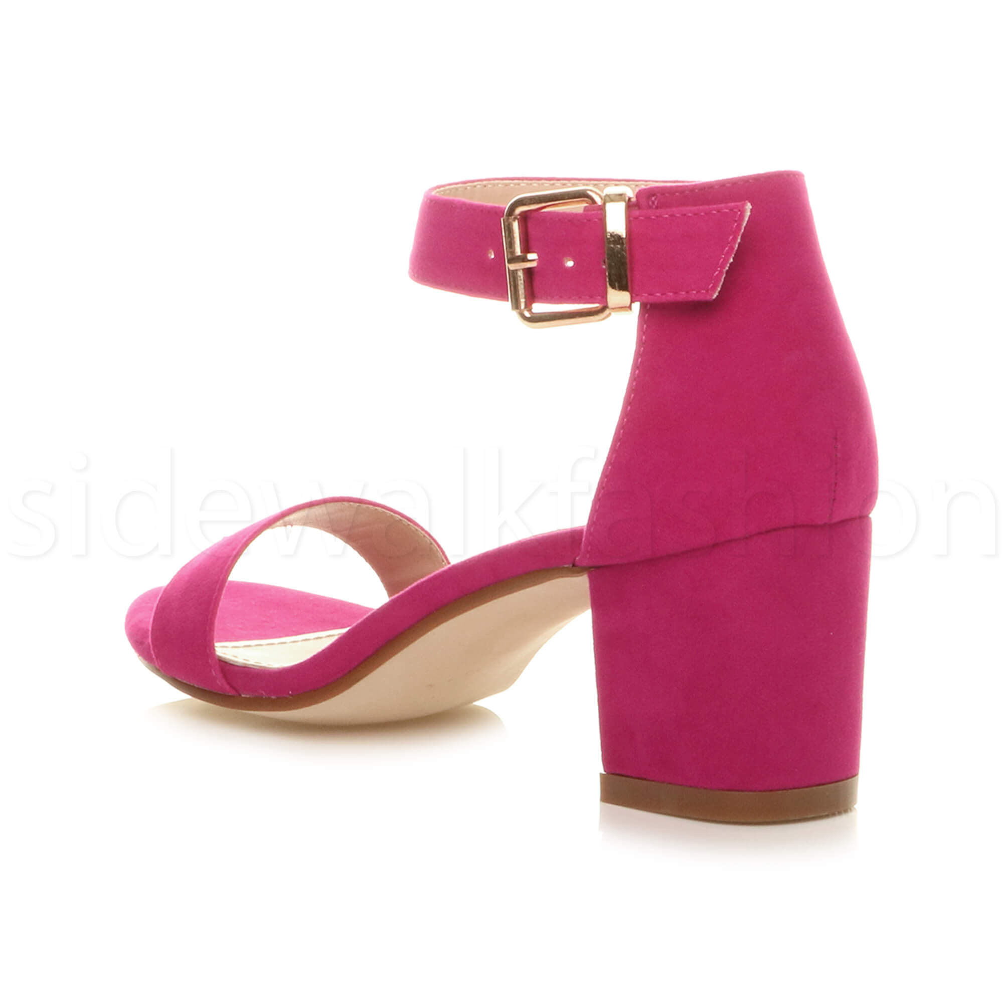 Womens-ladies-low-mid-heel-buckle-ankle-strap-peep-toe-party-strappy-sandal-size thumbnail 61