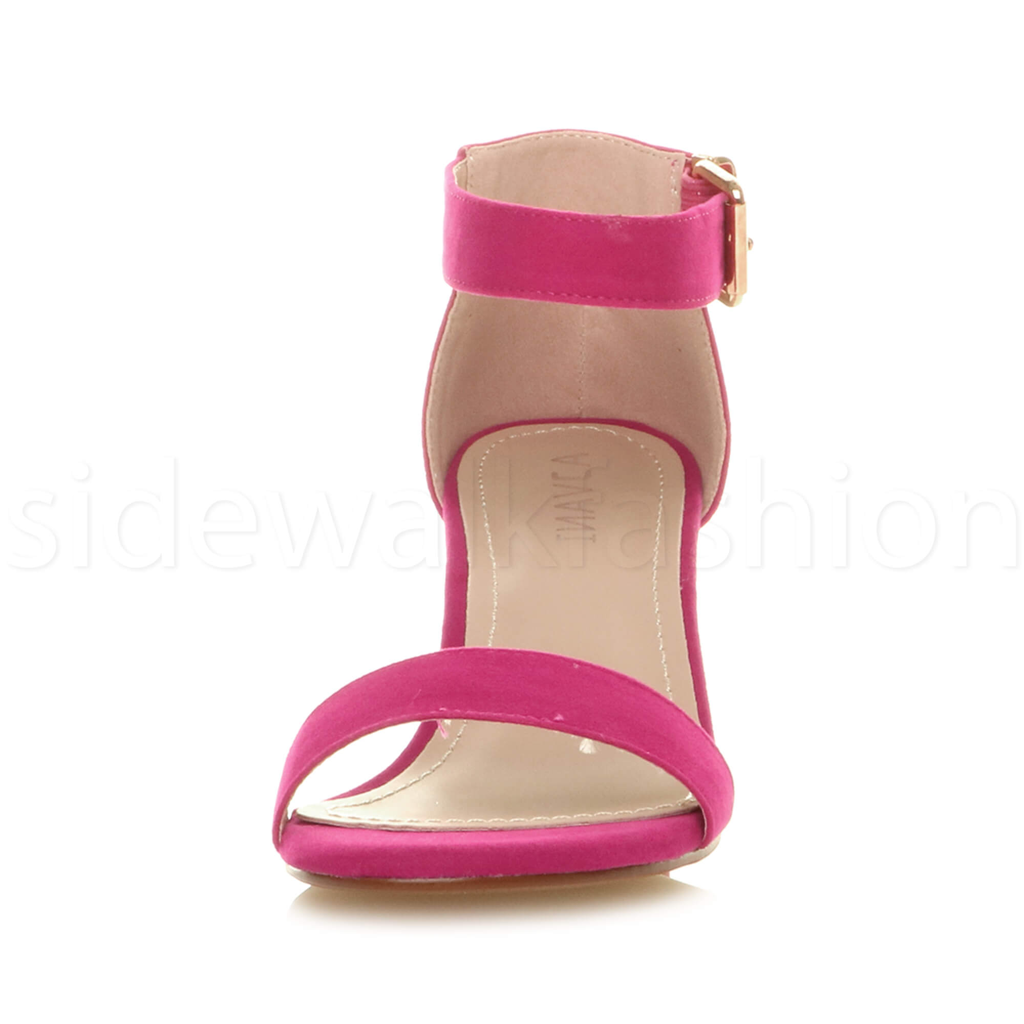 Womens-ladies-low-mid-heel-buckle-ankle-strap-peep-toe-party-strappy-sandal-size thumbnail 62