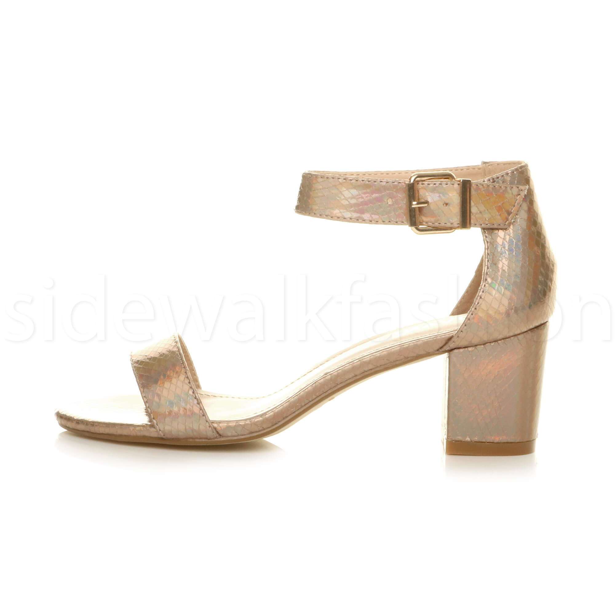 Womens-ladies-low-mid-heel-buckle-ankle-strap-peep-toe-party-strappy-sandal-size thumbnail 71