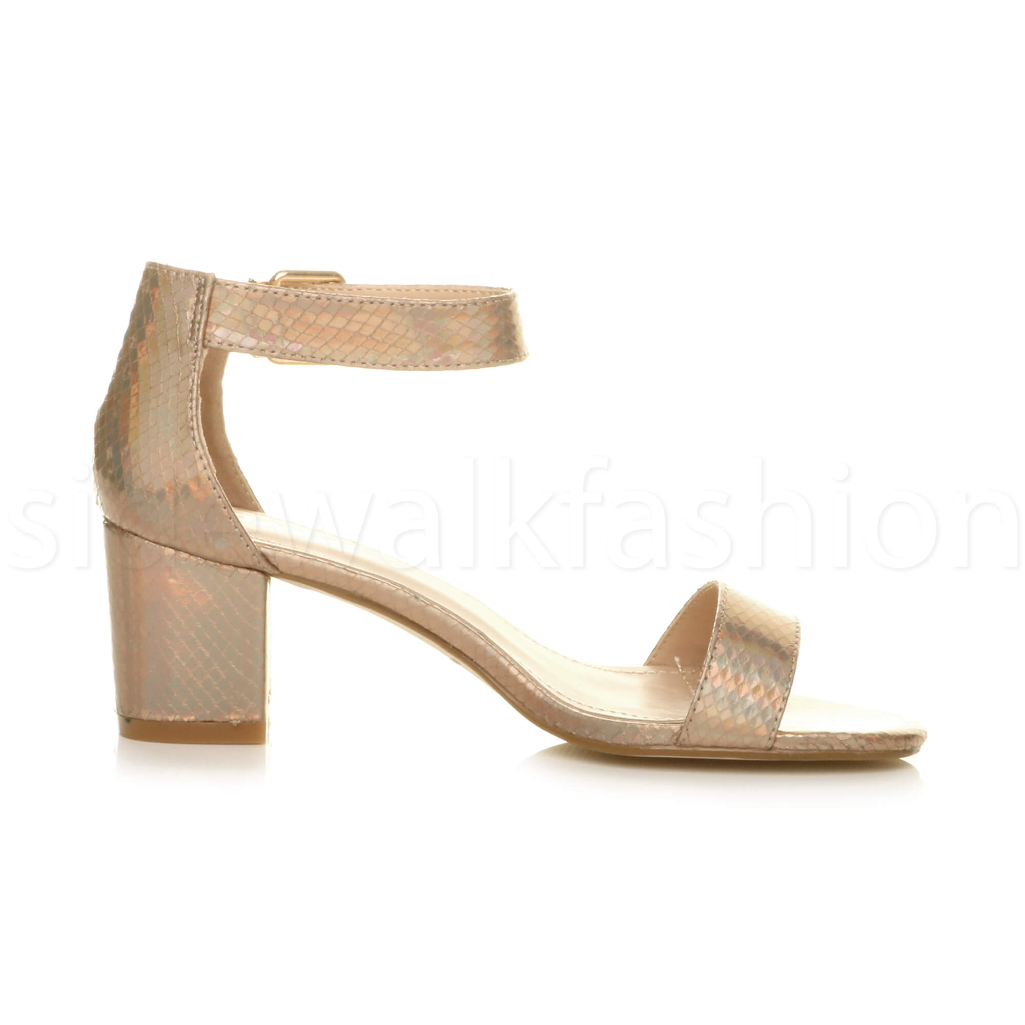 Womens-ladies-low-mid-heel-buckle-ankle-strap-peep-toe-party-strappy-sandal-size thumbnail 72