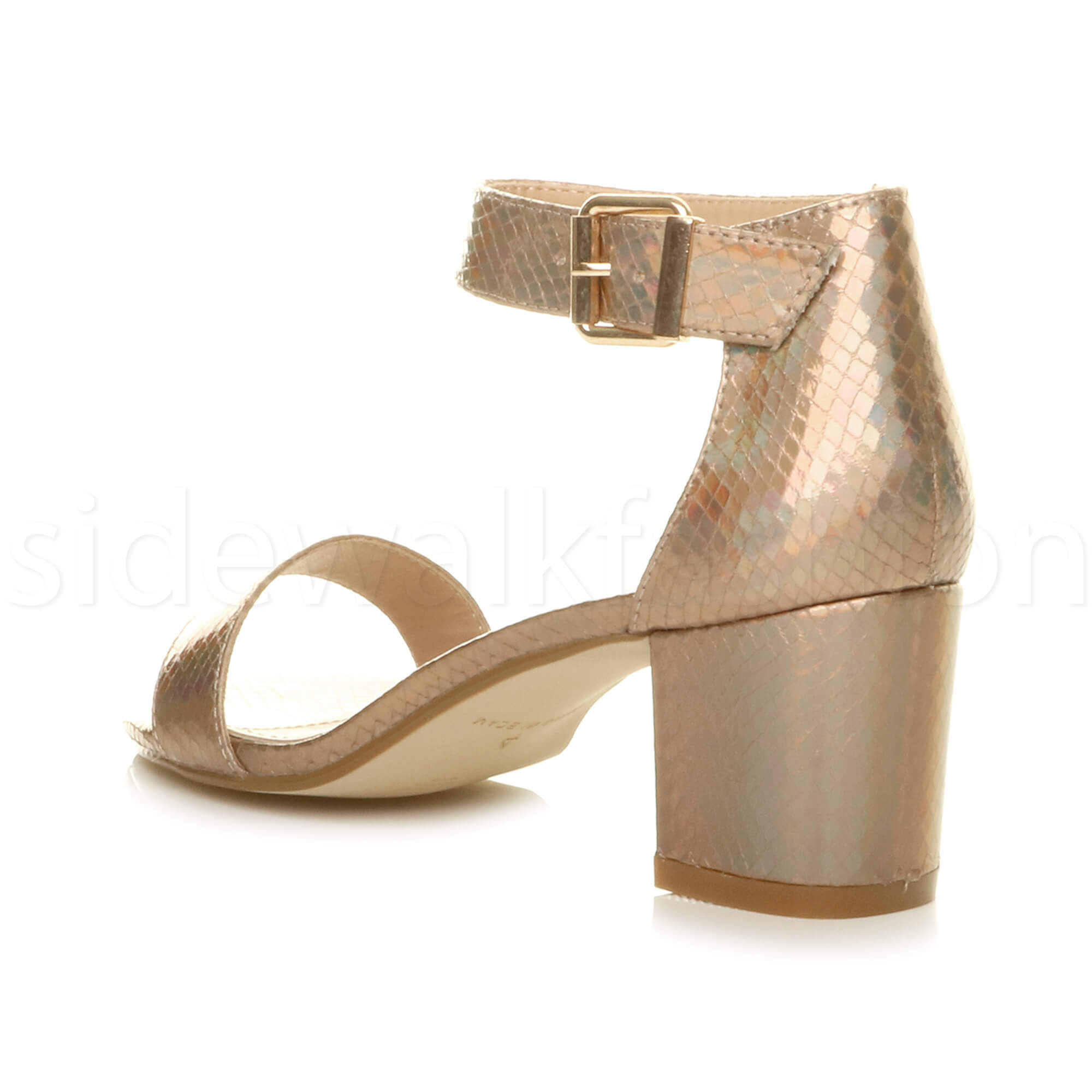 Womens-ladies-low-mid-heel-buckle-ankle-strap-peep-toe-party-strappy-sandal-size thumbnail 73