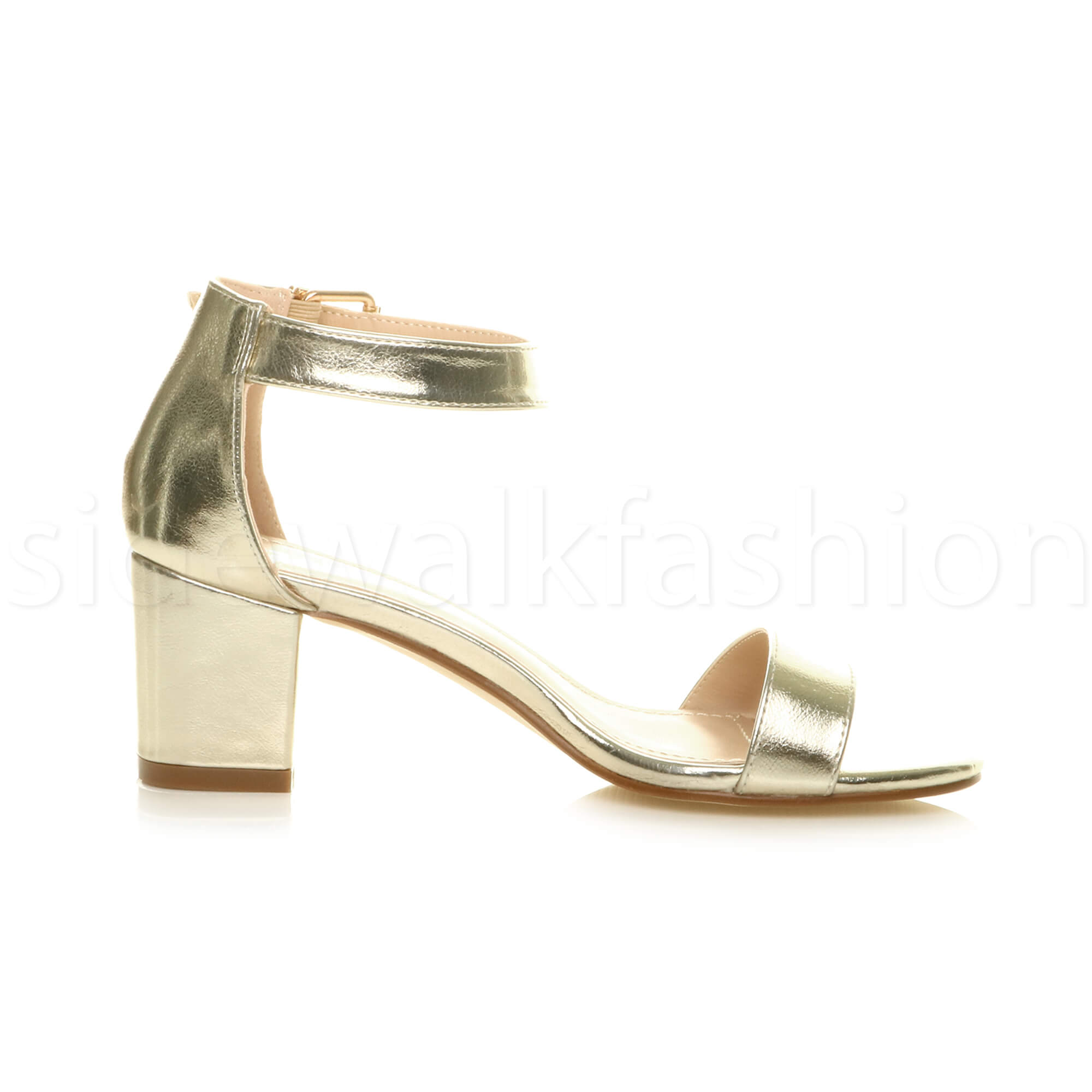 Womens-ladies-low-mid-heel-buckle-ankle-strap-peep-toe-party-strappy-sandal-size thumbnail 79
