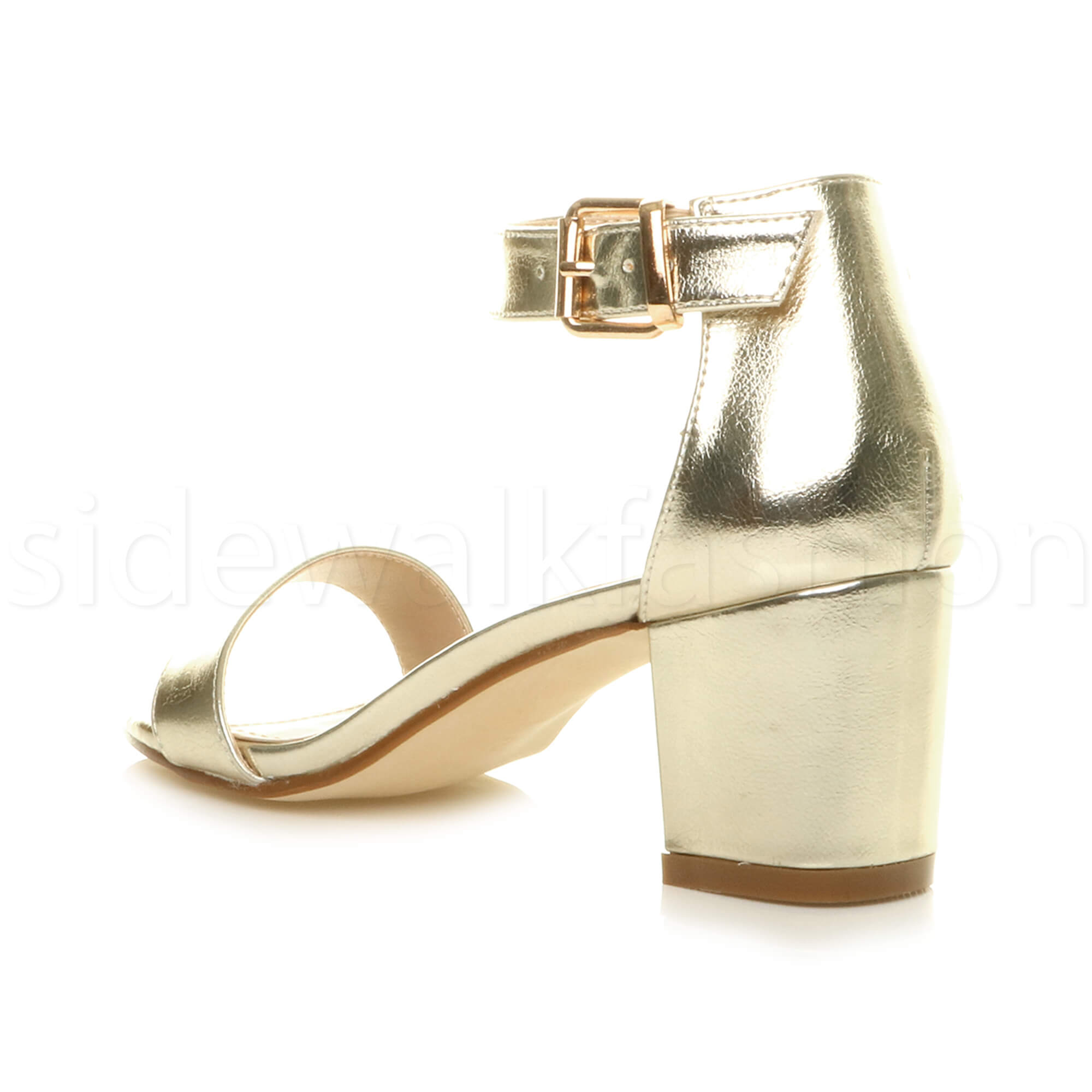 Womens-ladies-low-mid-heel-buckle-ankle-strap-peep-toe-party-strappy-sandal-size thumbnail 80