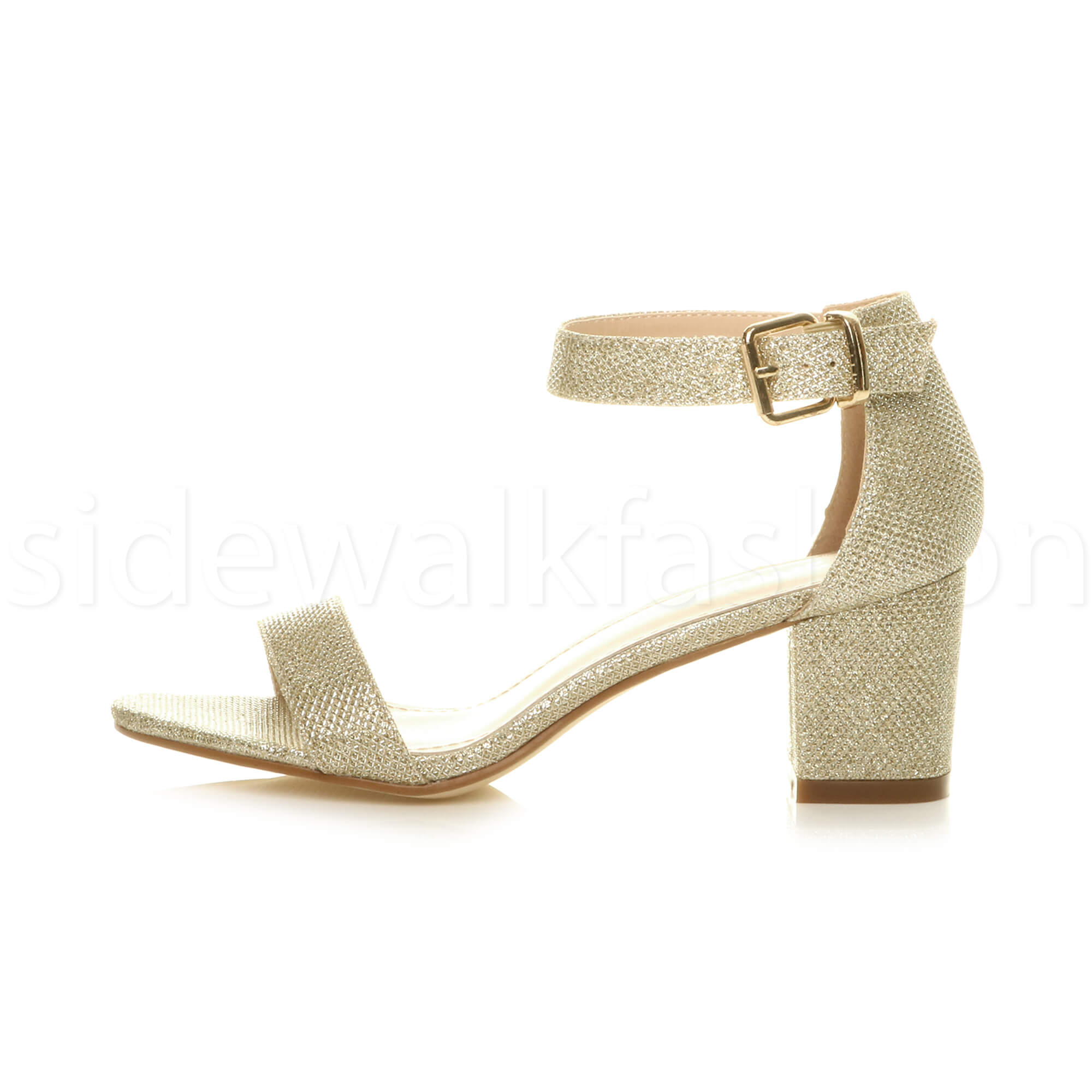 Womens-ladies-low-mid-heel-buckle-ankle-strap-peep-toe-party-strappy-sandal-size thumbnail 66