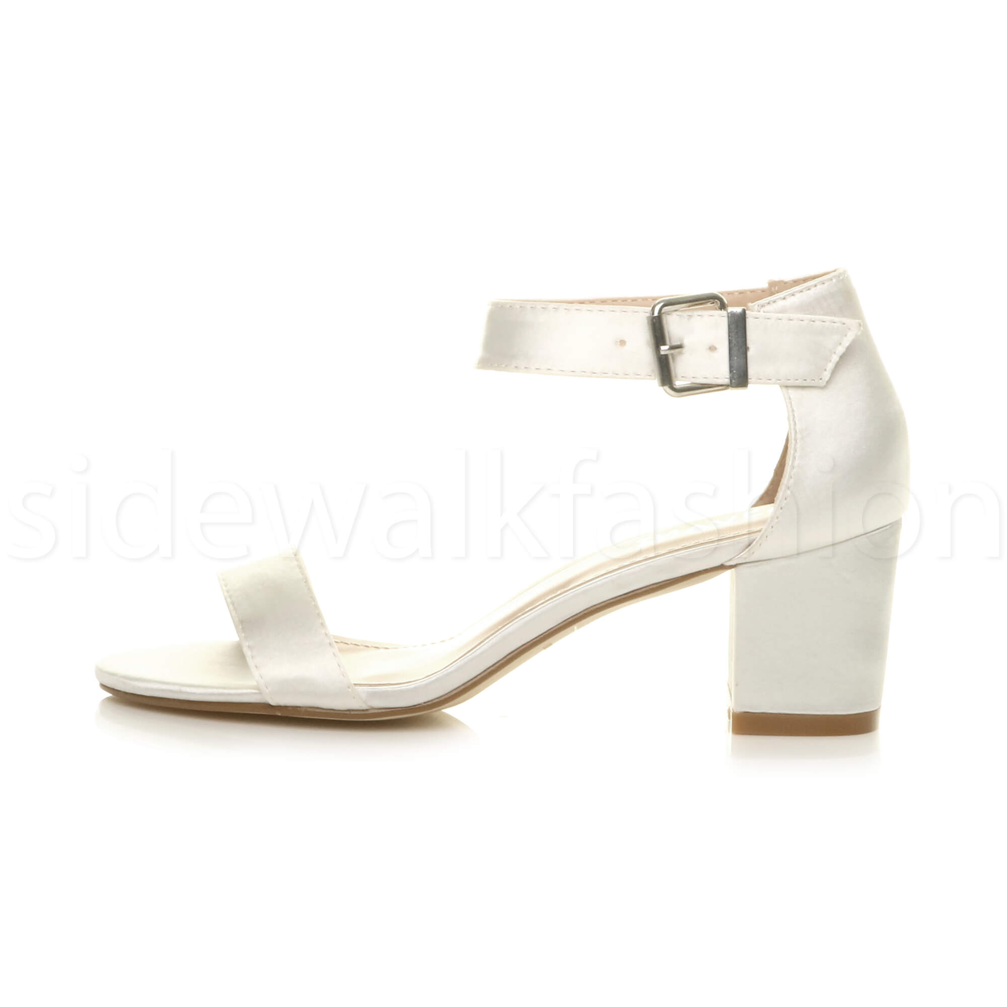 Womens-ladies-low-mid-heel-buckle-ankle-strap-peep-toe-party-strappy-sandal-size thumbnail 85