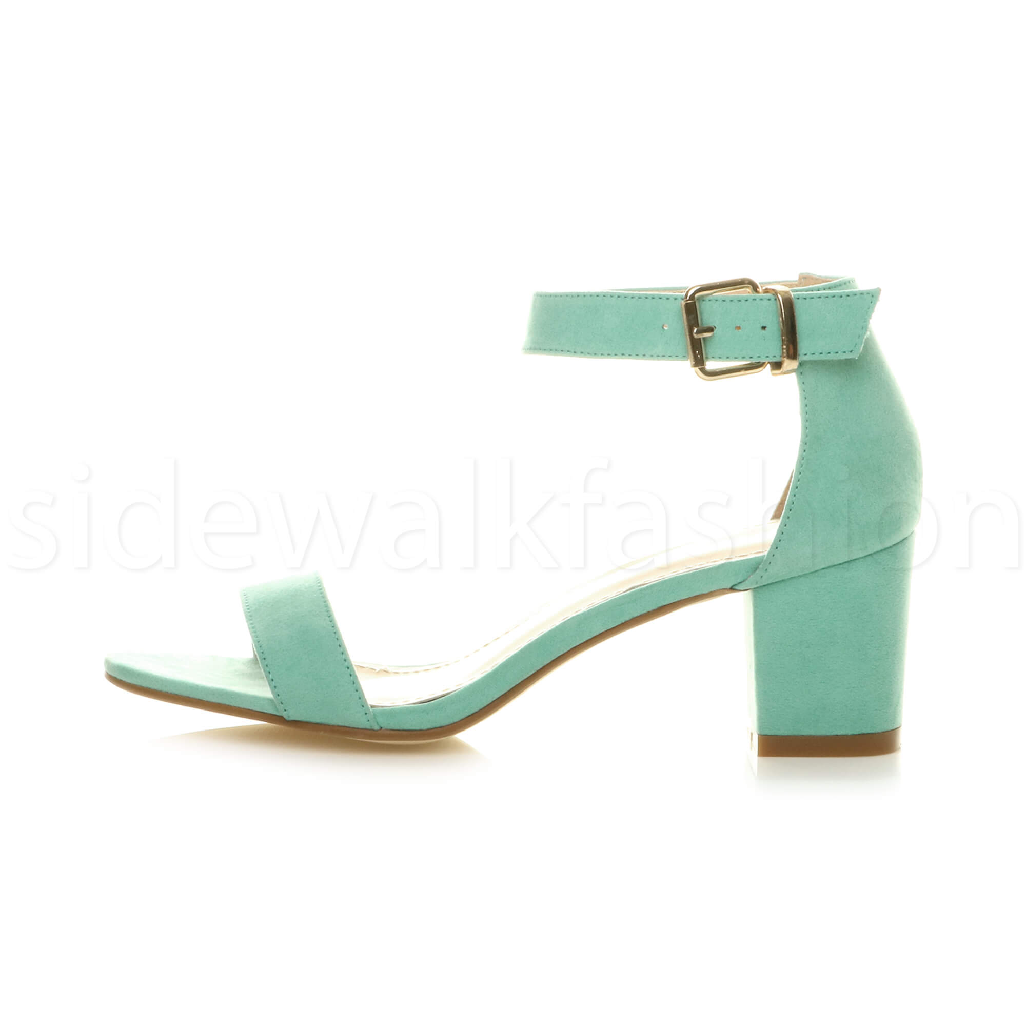 Womens-ladies-low-mid-heel-buckle-ankle-strap-peep-toe-party-strappy-sandal-size thumbnail 92