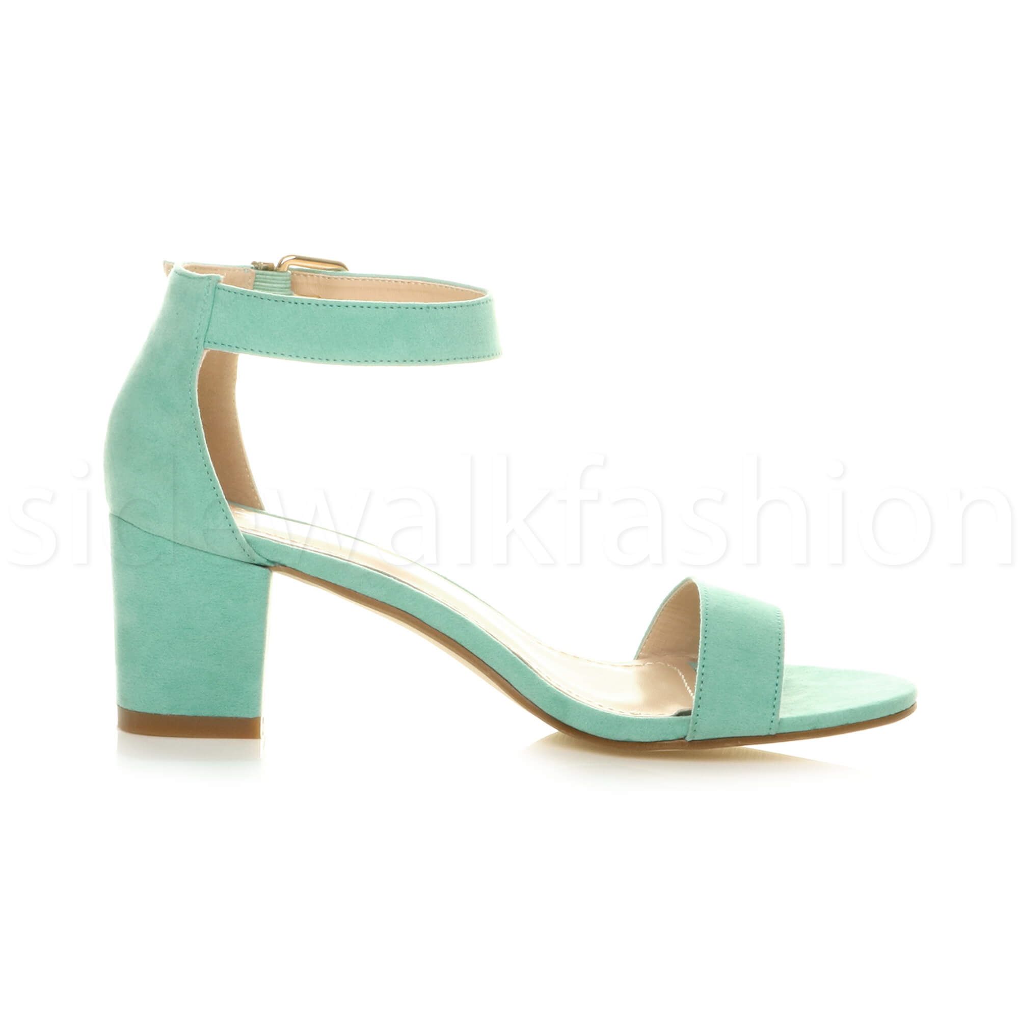 Womens-ladies-low-mid-heel-buckle-ankle-strap-peep-toe-party-strappy-sandal-size thumbnail 93