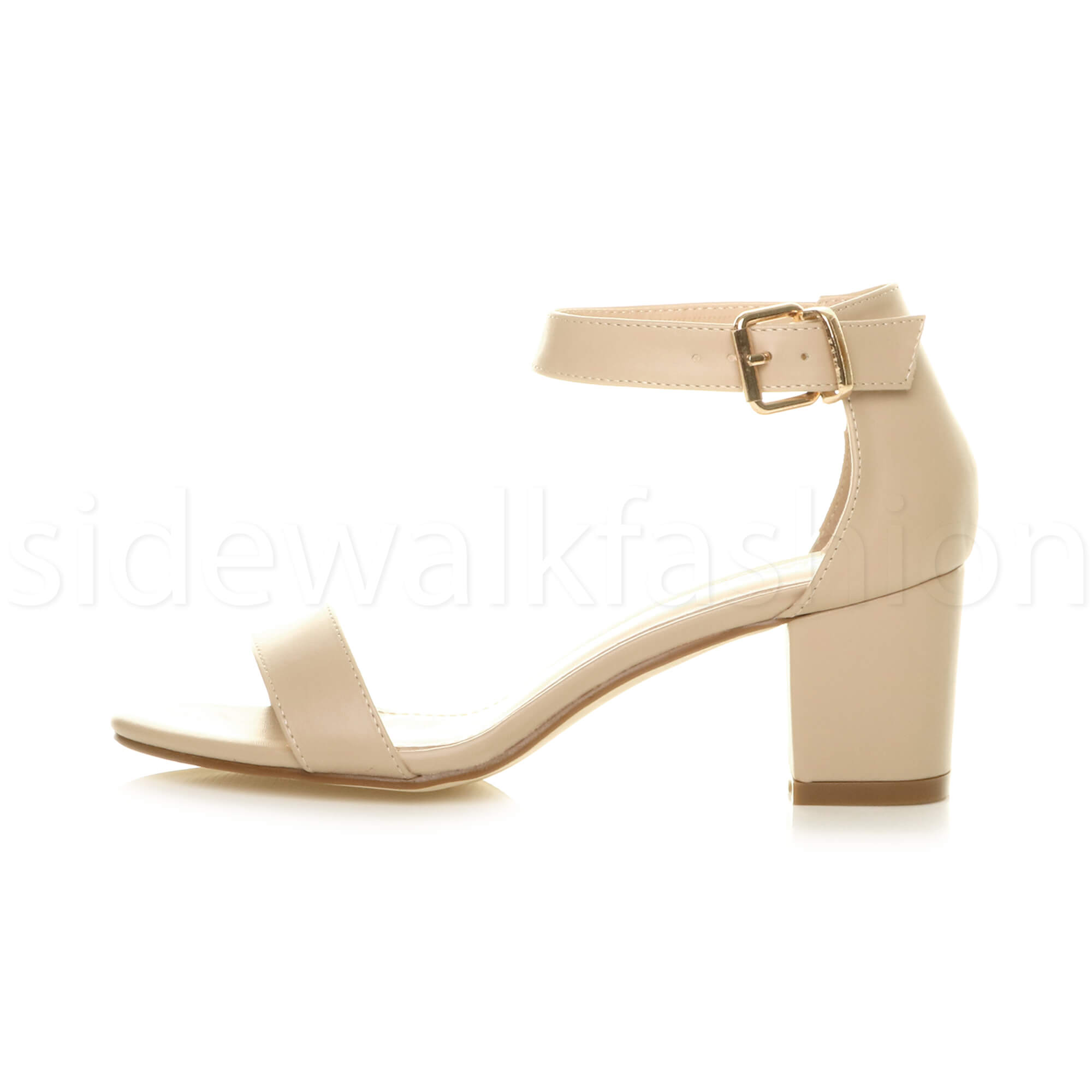 Womens-ladies-low-mid-heel-buckle-ankle-strap-peep-toe-party-strappy-sandal-size thumbnail 99