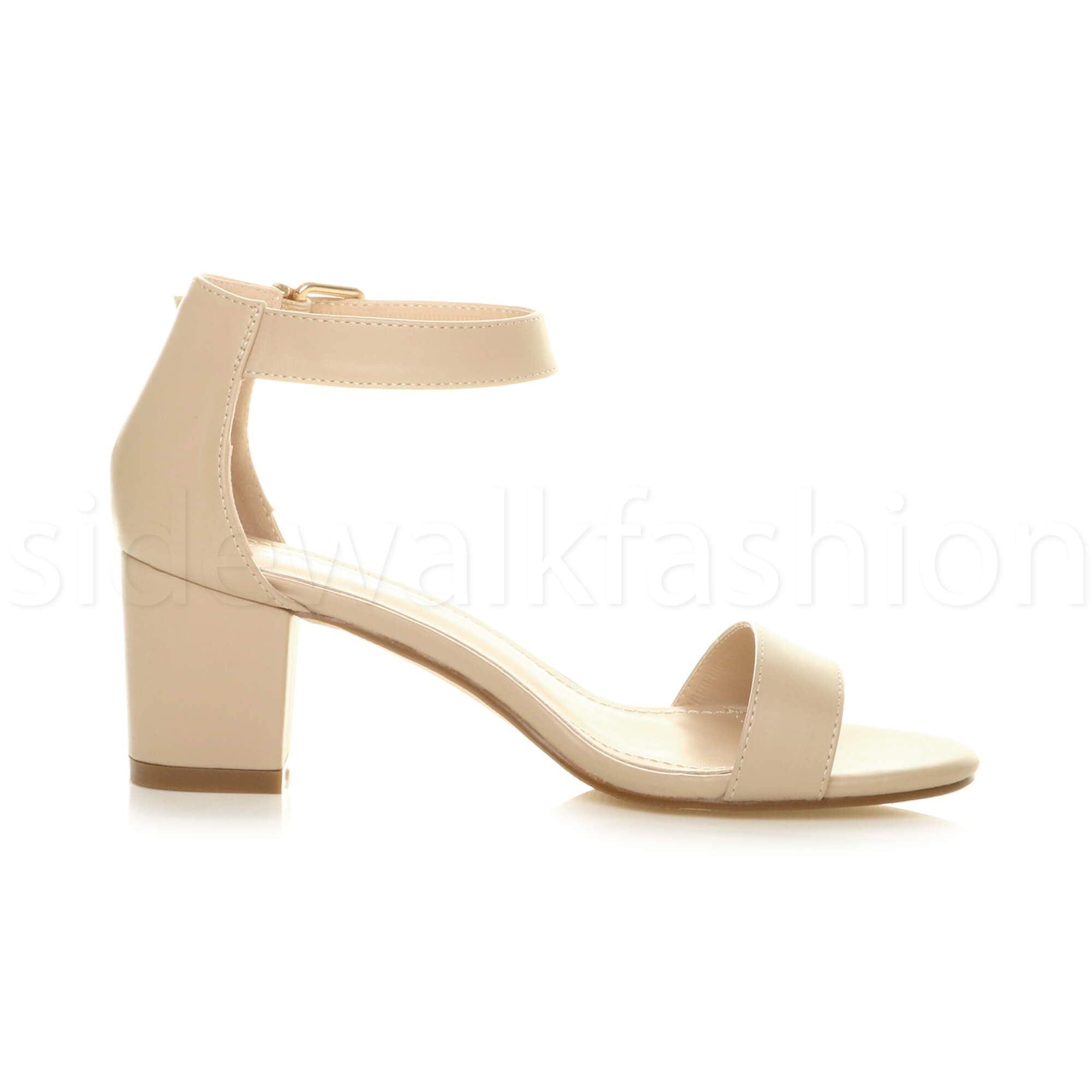 Womens-ladies-low-mid-heel-buckle-ankle-strap-peep-toe-party-strappy-sandal-size thumbnail 100
