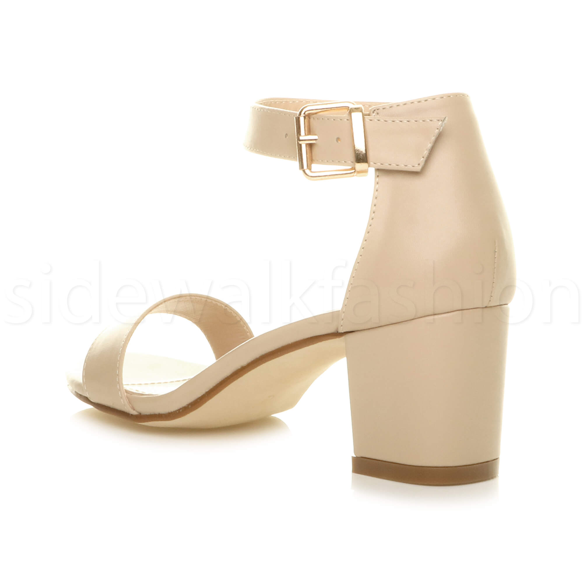 Womens-ladies-low-mid-heel-buckle-ankle-strap-peep-toe-party-strappy-sandal-size thumbnail 101