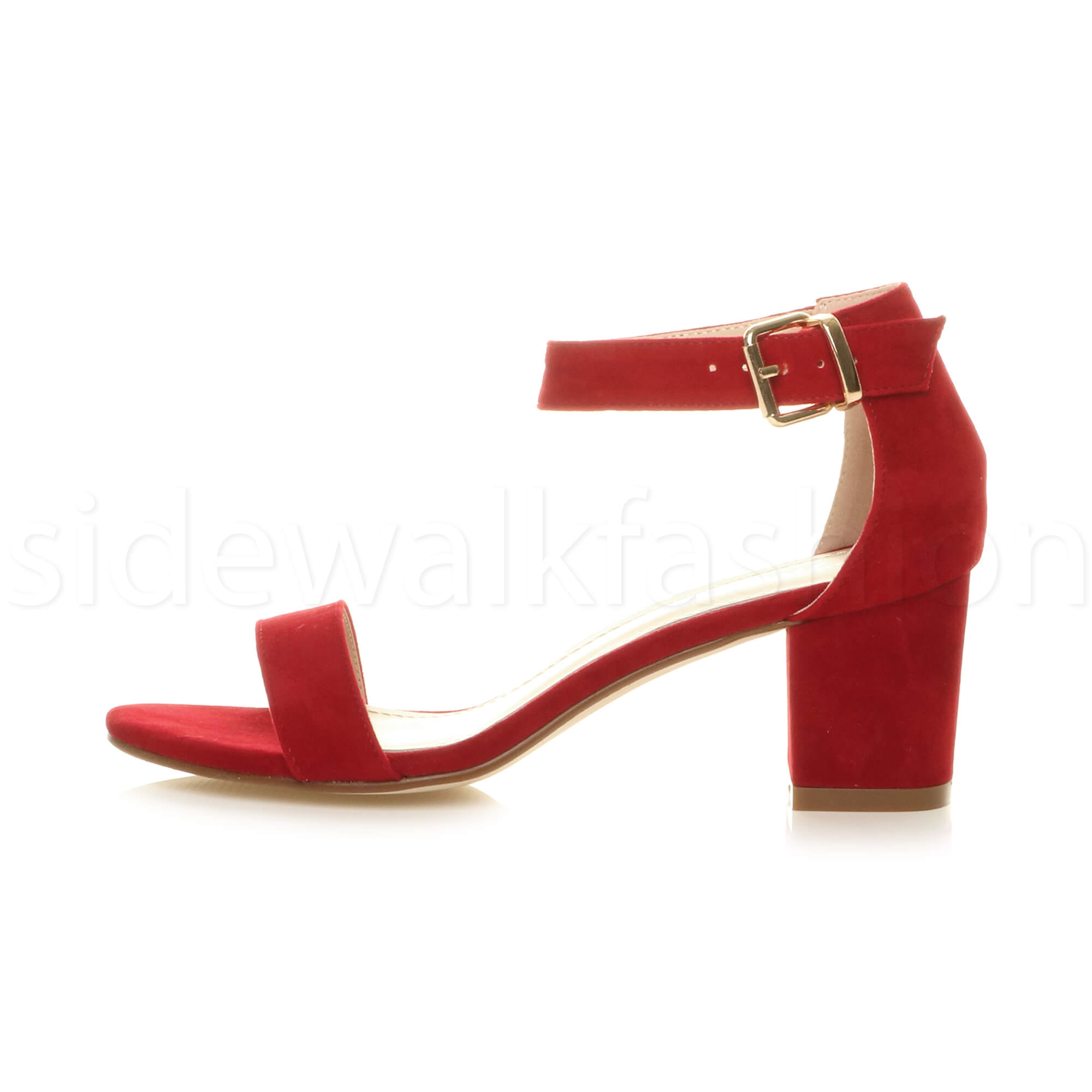 Womens-ladies-low-mid-heel-buckle-ankle-strap-peep-toe-party-strappy-sandal-size thumbnail 106