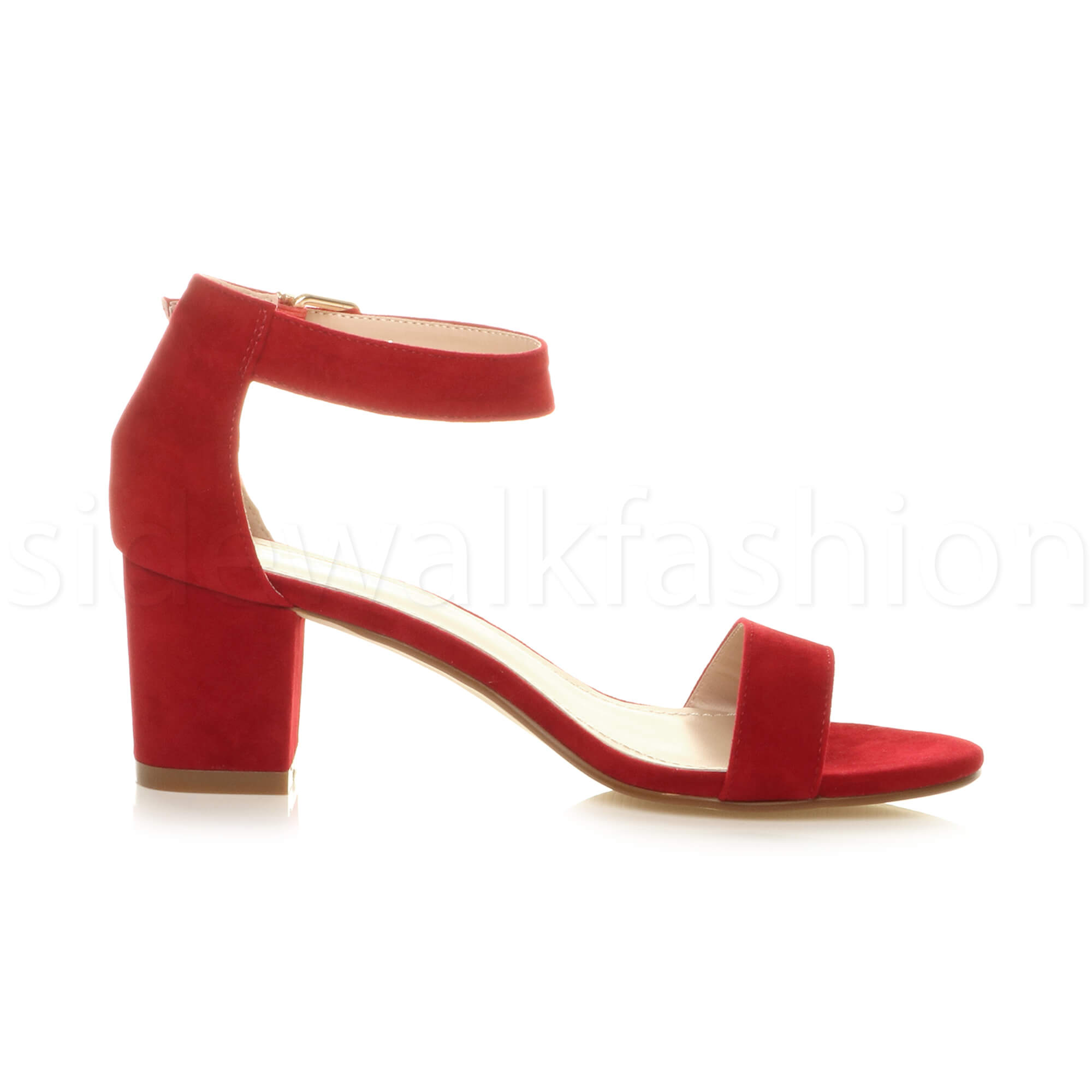Womens-ladies-low-mid-heel-buckle-ankle-strap-peep-toe-party-strappy-sandal-size thumbnail 107