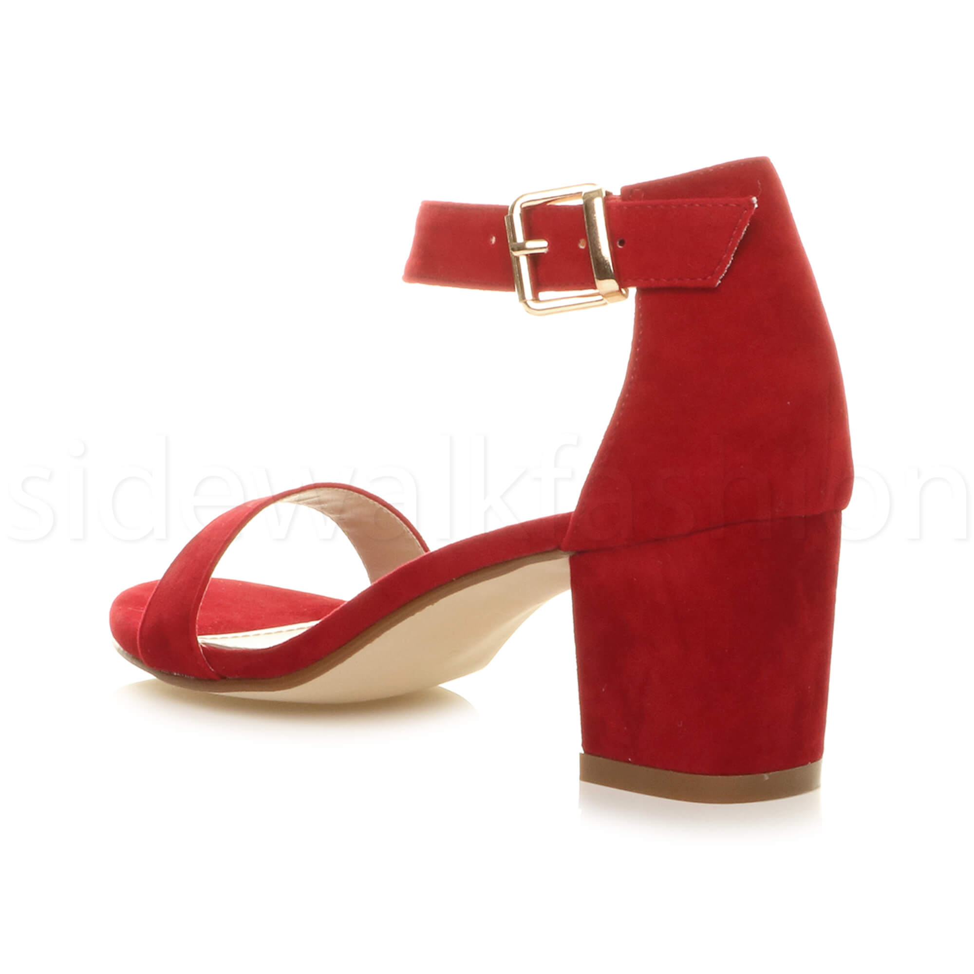 Womens-ladies-low-mid-heel-buckle-ankle-strap-peep-toe-party-strappy-sandal-size thumbnail 108