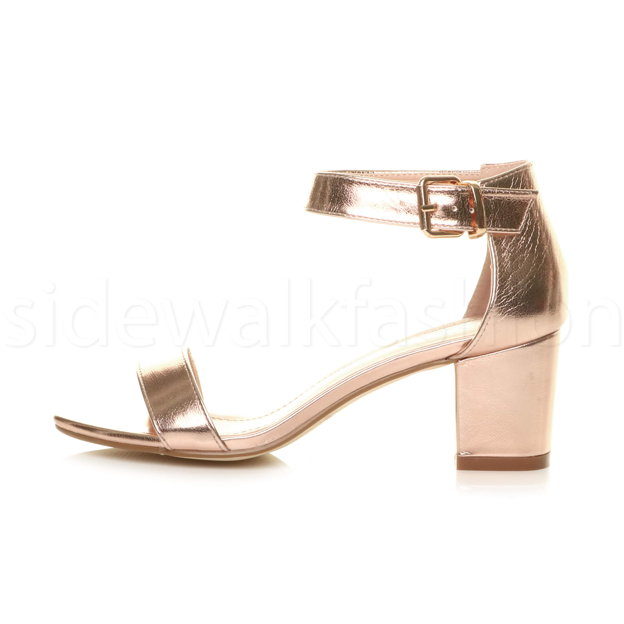 Womens-ladies-low-mid-heel-buckle-ankle-strap-peep-toe-party-strappy-sandal-size thumbnail 113