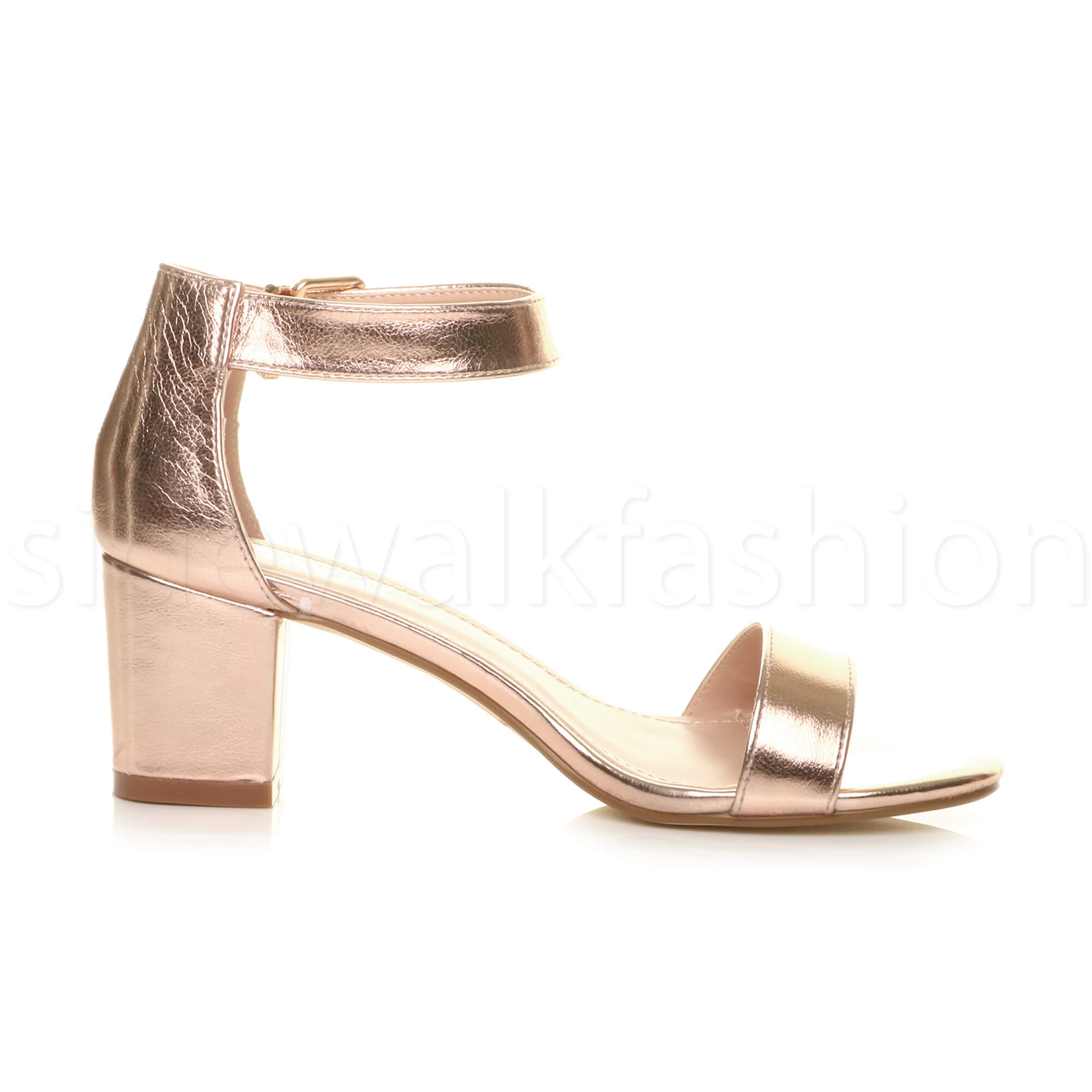 Womens-ladies-low-mid-heel-buckle-ankle-strap-peep-toe-party-strappy-sandal-size thumbnail 114