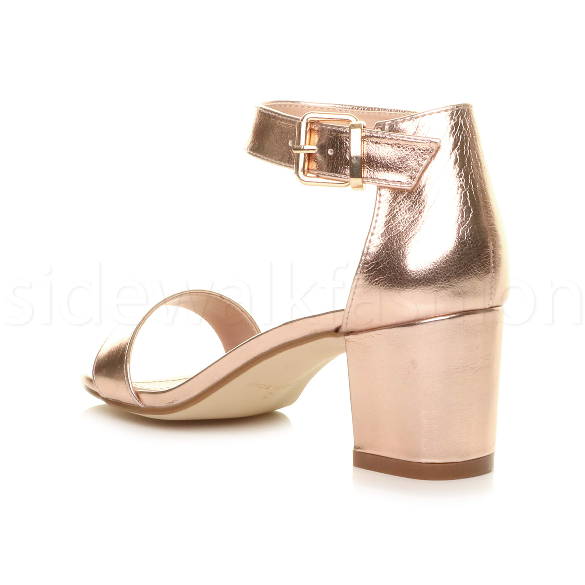 Womens-ladies-low-mid-heel-buckle-ankle-strap-peep-toe-party-strappy-sandal-size thumbnail 115