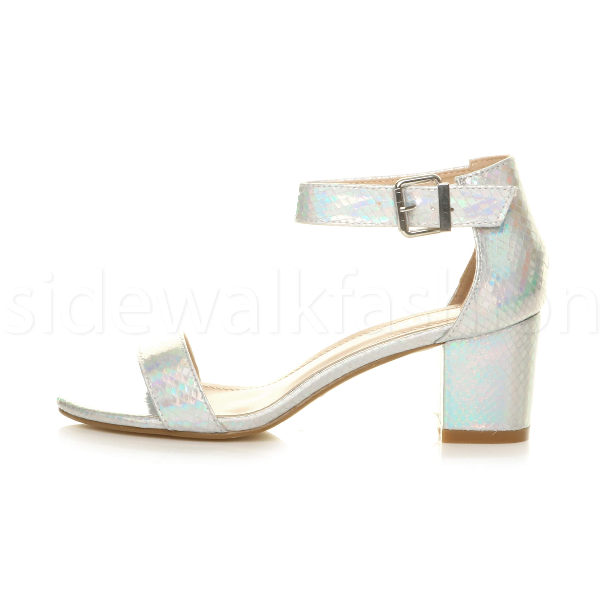 Womens-ladies-low-mid-heel-buckle-ankle-strap-peep-toe-party-strappy-sandal-size thumbnail 127