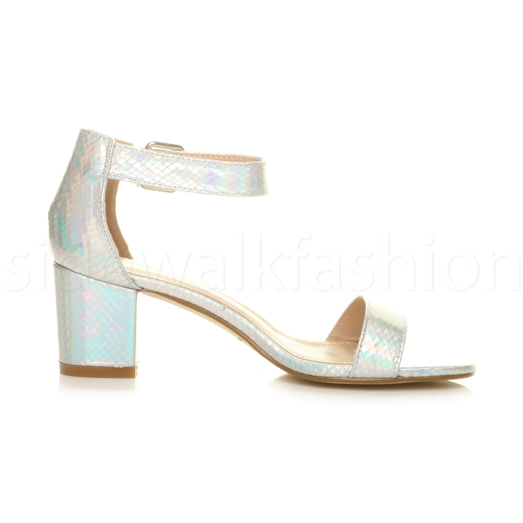 Womens-ladies-low-mid-heel-buckle-ankle-strap-peep-toe-party-strappy-sandal-size thumbnail 128