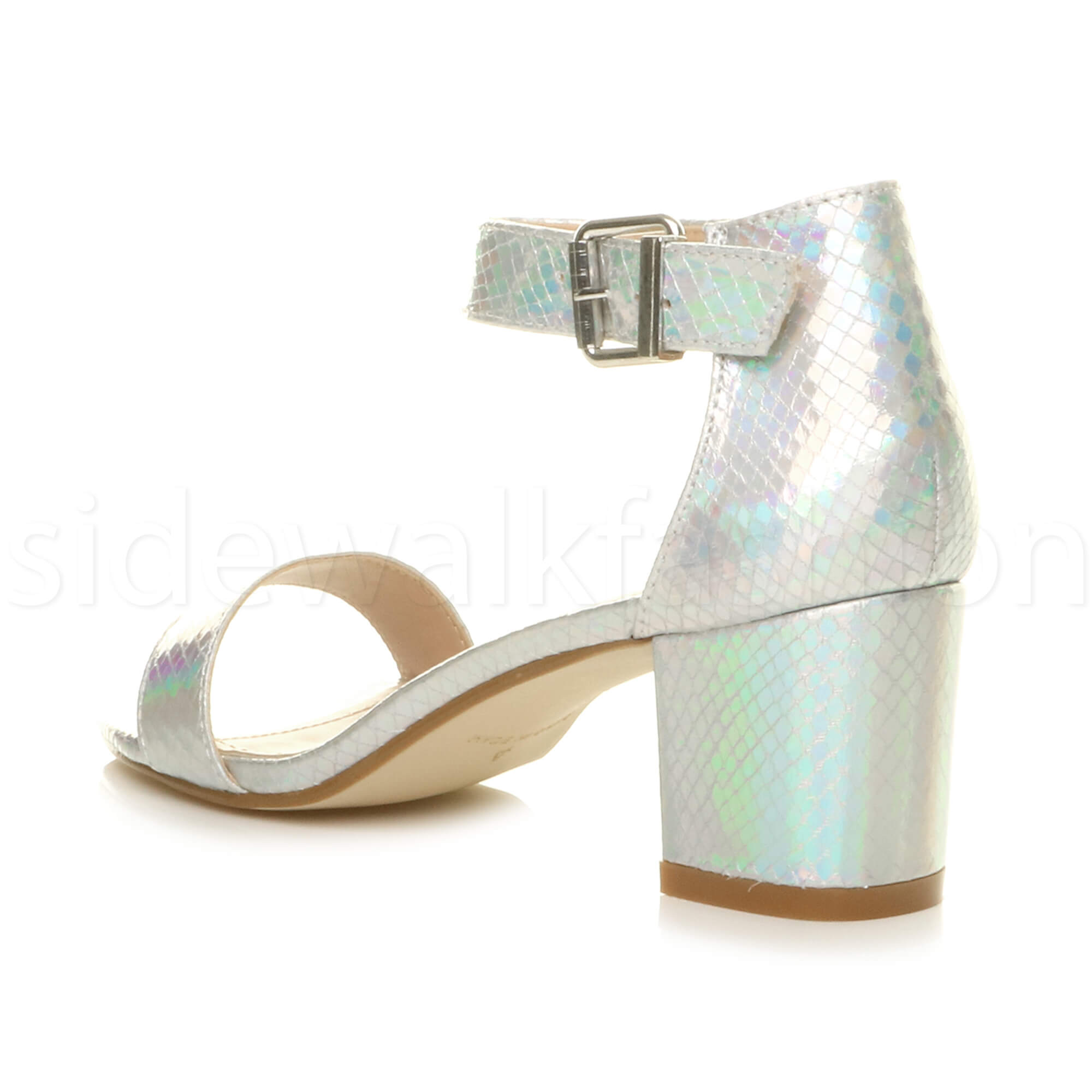 Womens-ladies-low-mid-heel-buckle-ankle-strap-peep-toe-party-strappy-sandal-size thumbnail 129