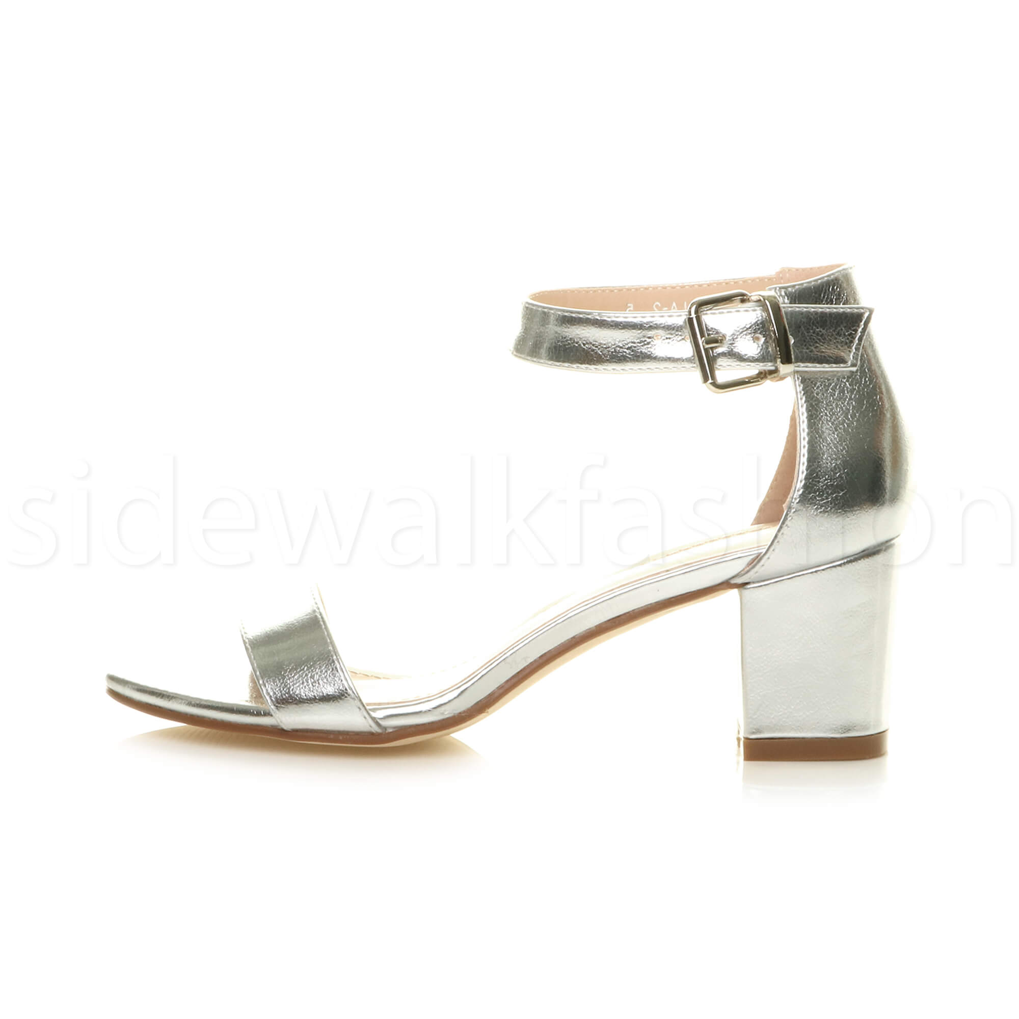 Womens-ladies-low-mid-heel-buckle-ankle-strap-peep-toe-party-strappy-sandal-size thumbnail 134