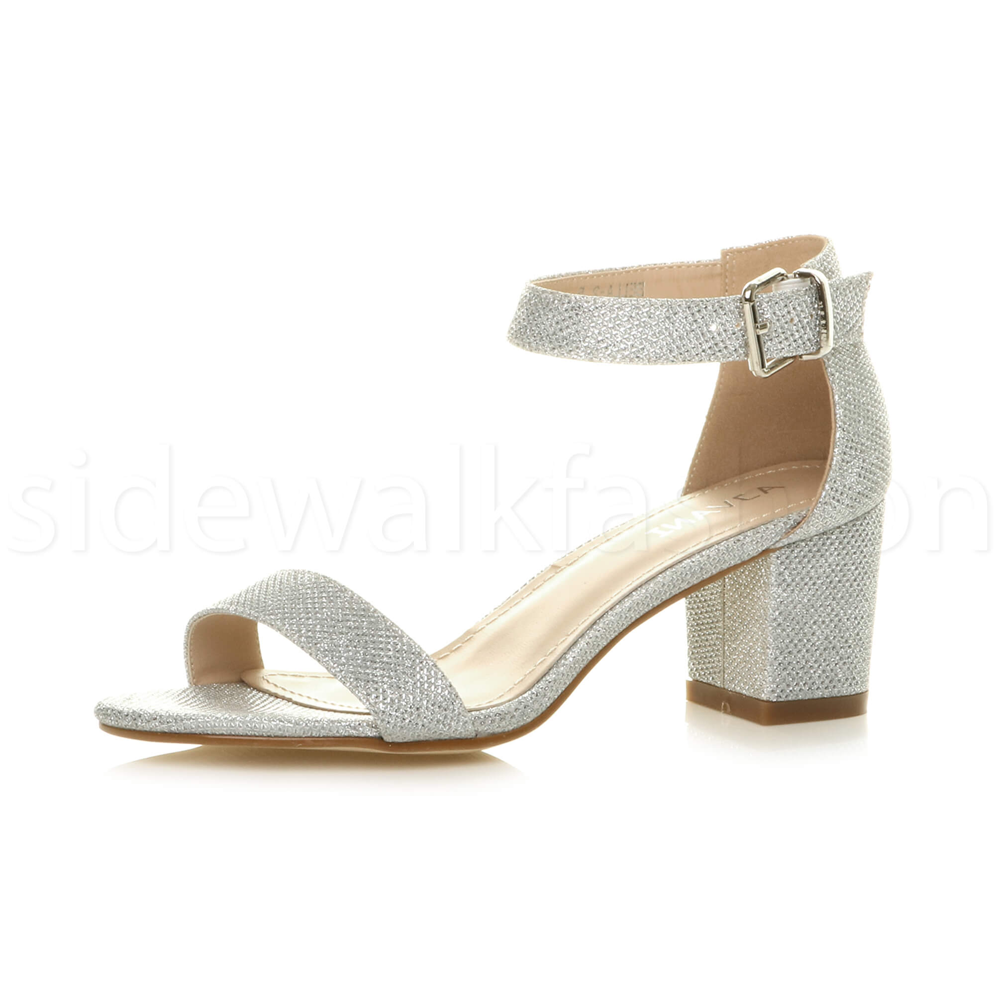 d206ea349 Womens Ladies Low Mid Heel PEEP Toe Buckle Ankle Strap Party Strappy ...