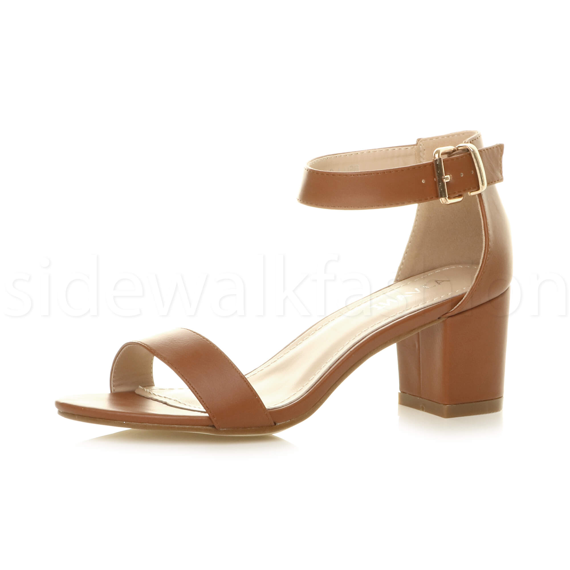 Womens-ladies-low-mid-heel-buckle-ankle-strap-peep-toe-party-strappy-sandal-size thumbnail 140