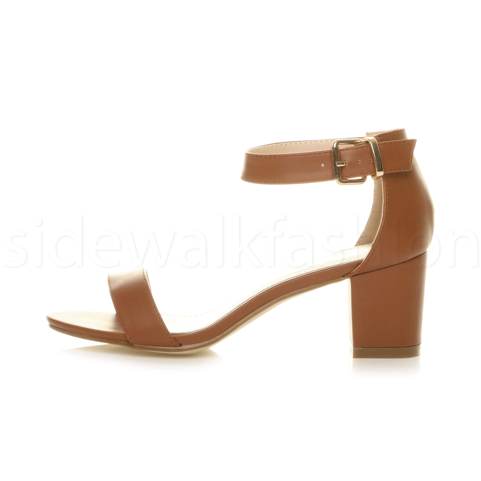 Womens-ladies-low-mid-heel-buckle-ankle-strap-peep-toe-party-strappy-sandal-size thumbnail 141
