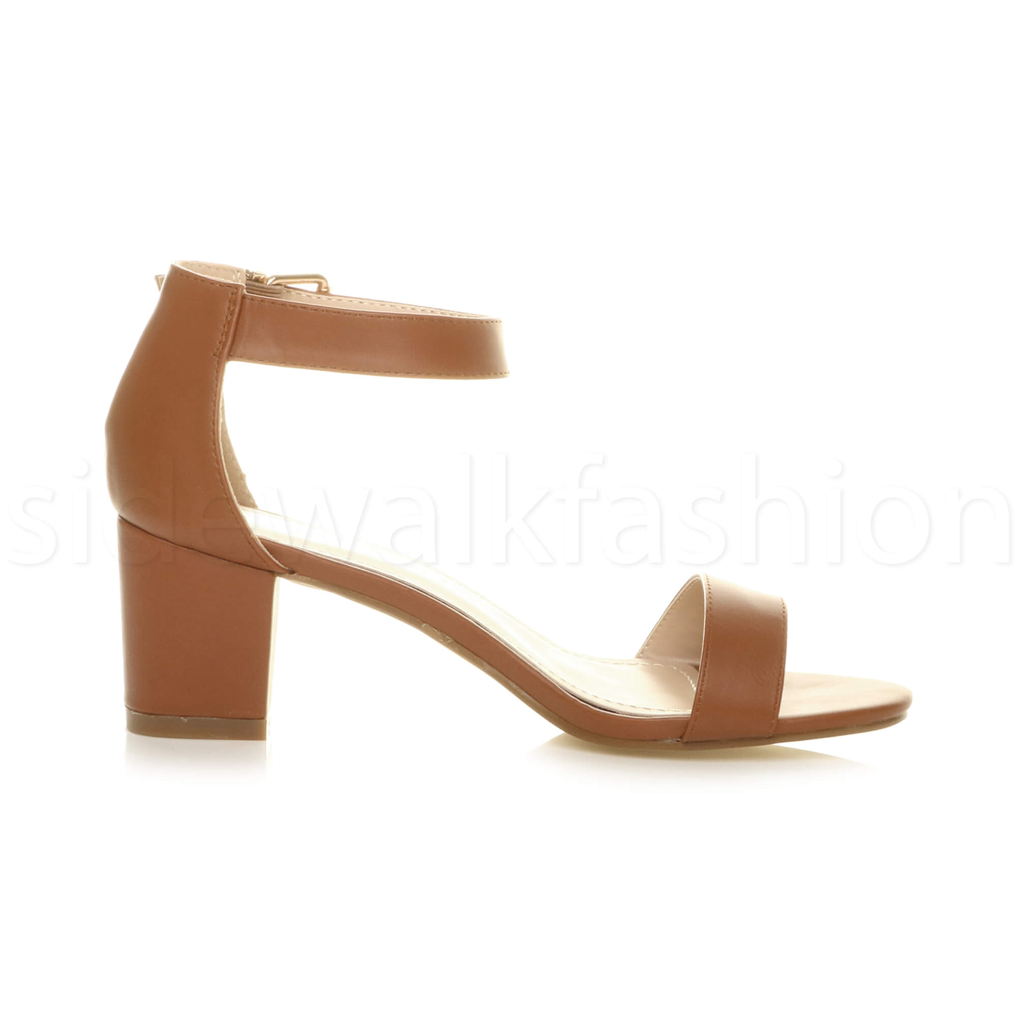 Womens-ladies-low-mid-heel-buckle-ankle-strap-peep-toe-party-strappy-sandal-size thumbnail 142