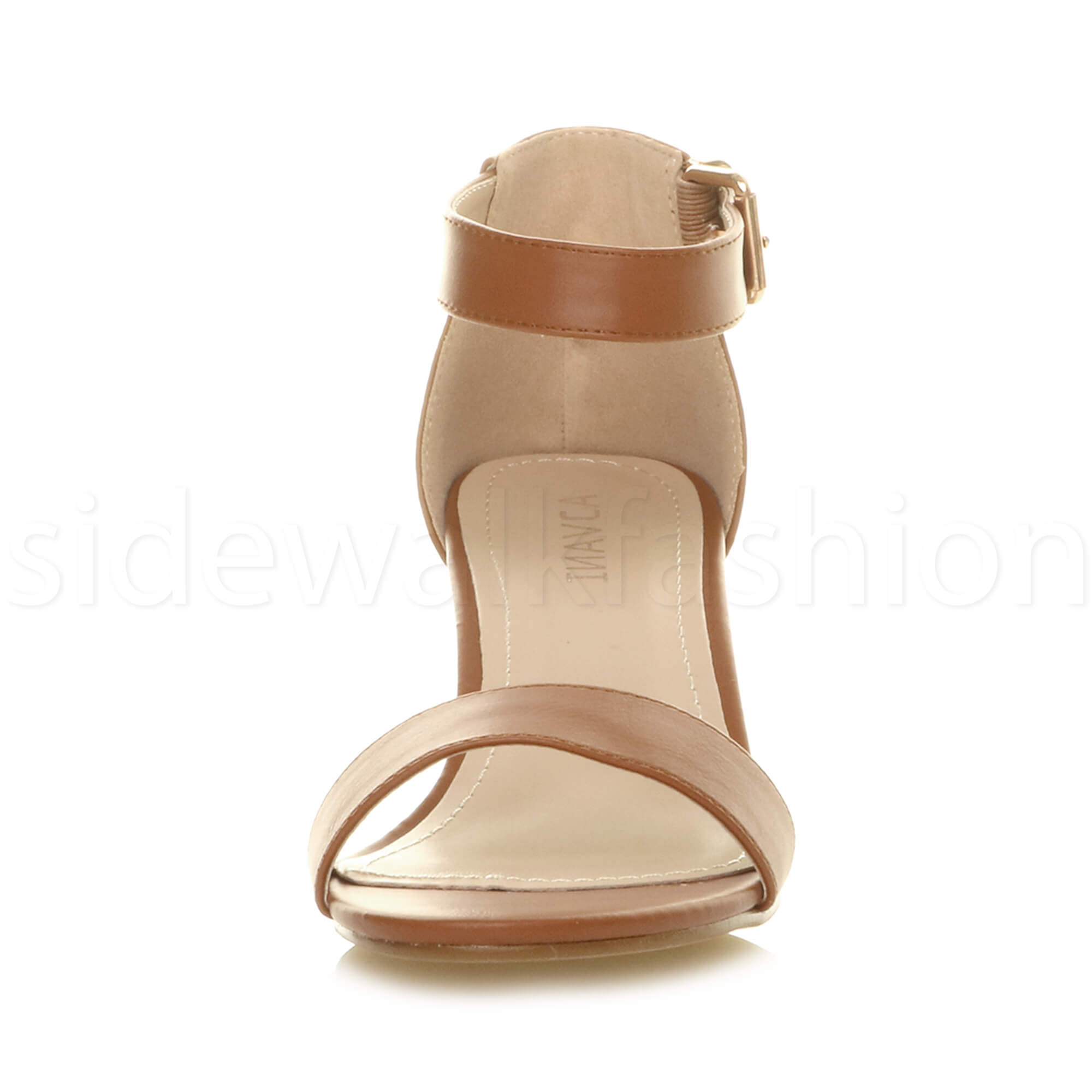 Womens-ladies-low-mid-heel-buckle-ankle-strap-peep-toe-party-strappy-sandal-size thumbnail 144