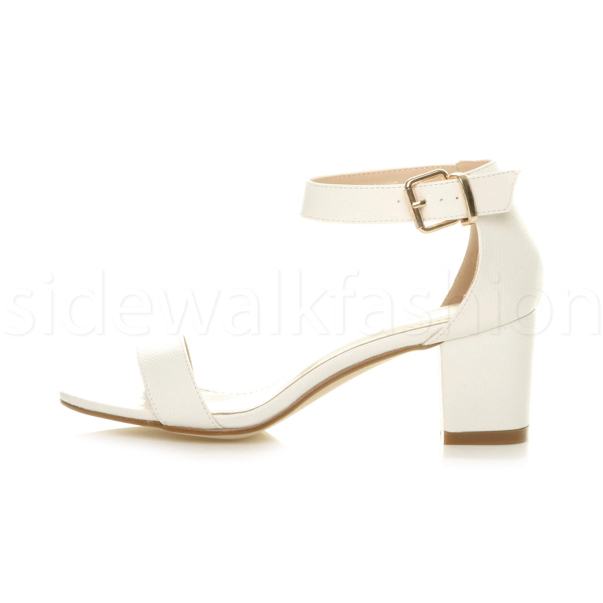 Womens-ladies-low-mid-heel-buckle-ankle-strap-peep-toe-party-strappy-sandal-size thumbnail 148