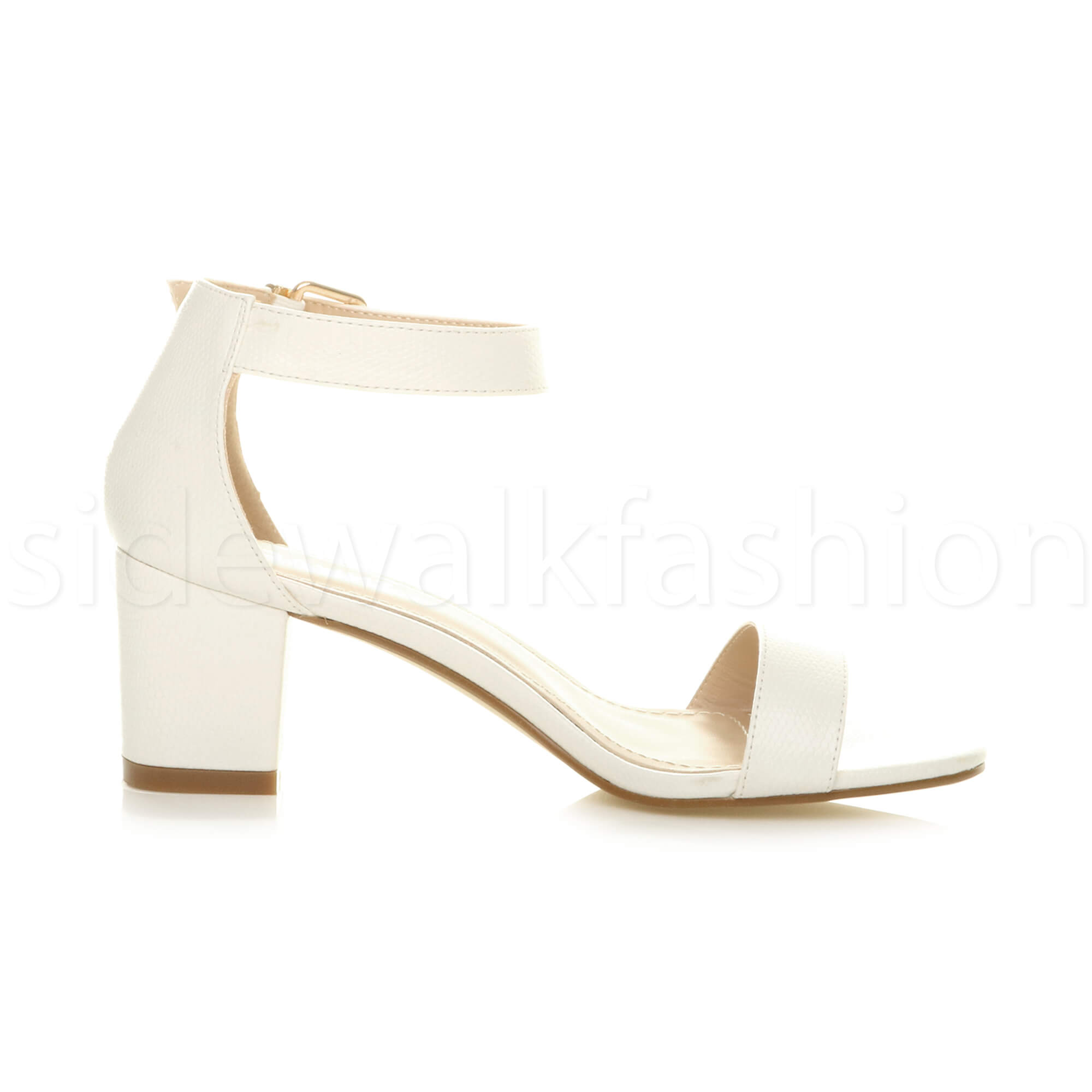 Womens-ladies-low-mid-heel-buckle-ankle-strap-peep-toe-party-strappy-sandal-size thumbnail 149