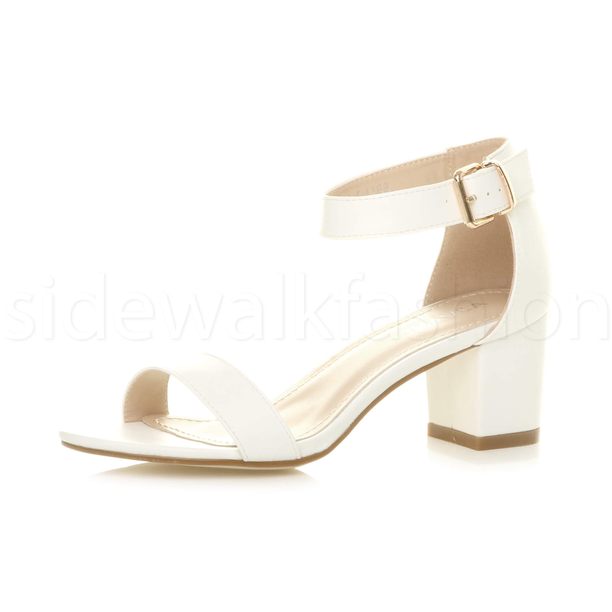 Womens-ladies-low-mid-heel-buckle-ankle-strap-peep-toe-party-strappy-sandal-size thumbnail 154