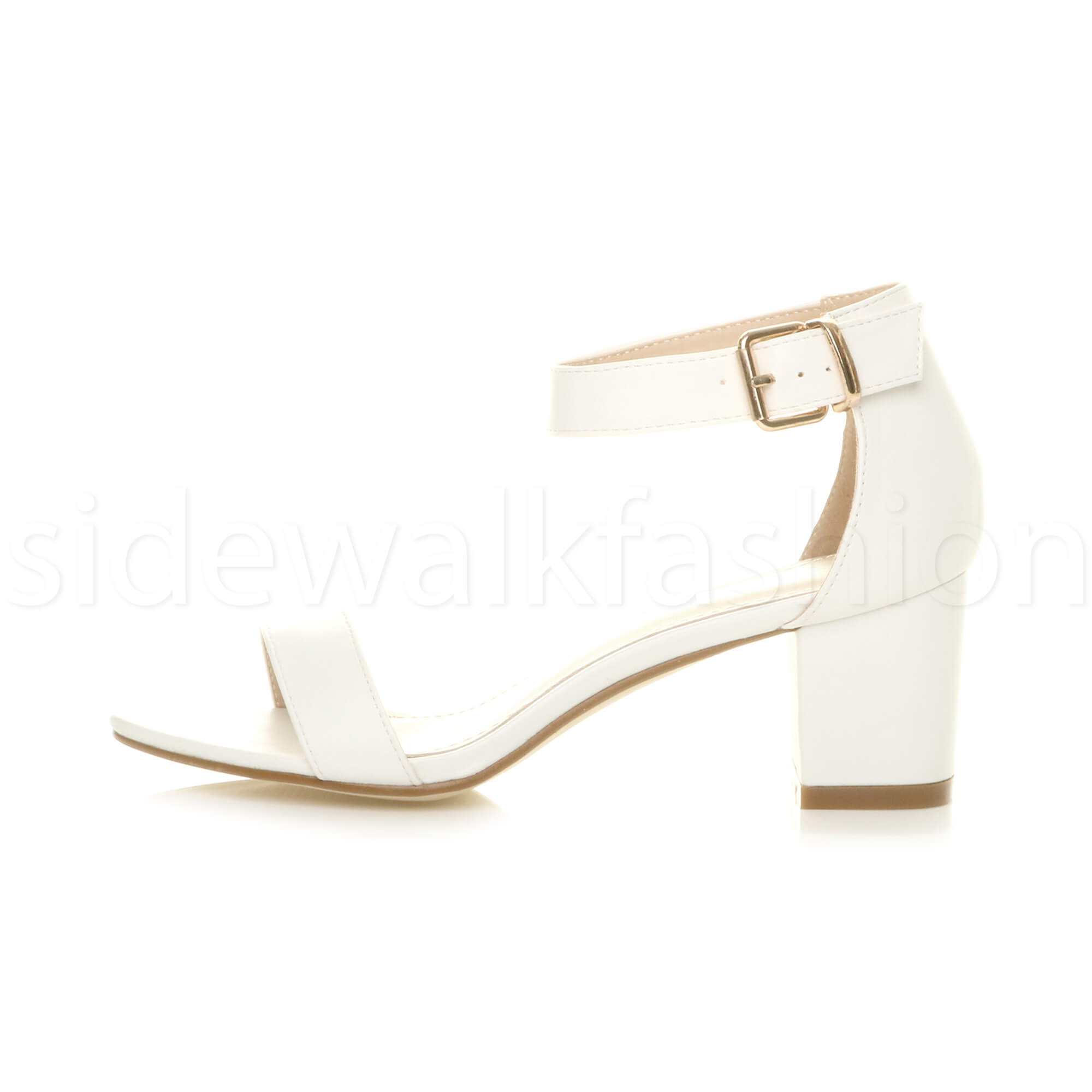 Womens-ladies-low-mid-heel-buckle-ankle-strap-peep-toe-party-strappy-sandal-size thumbnail 155