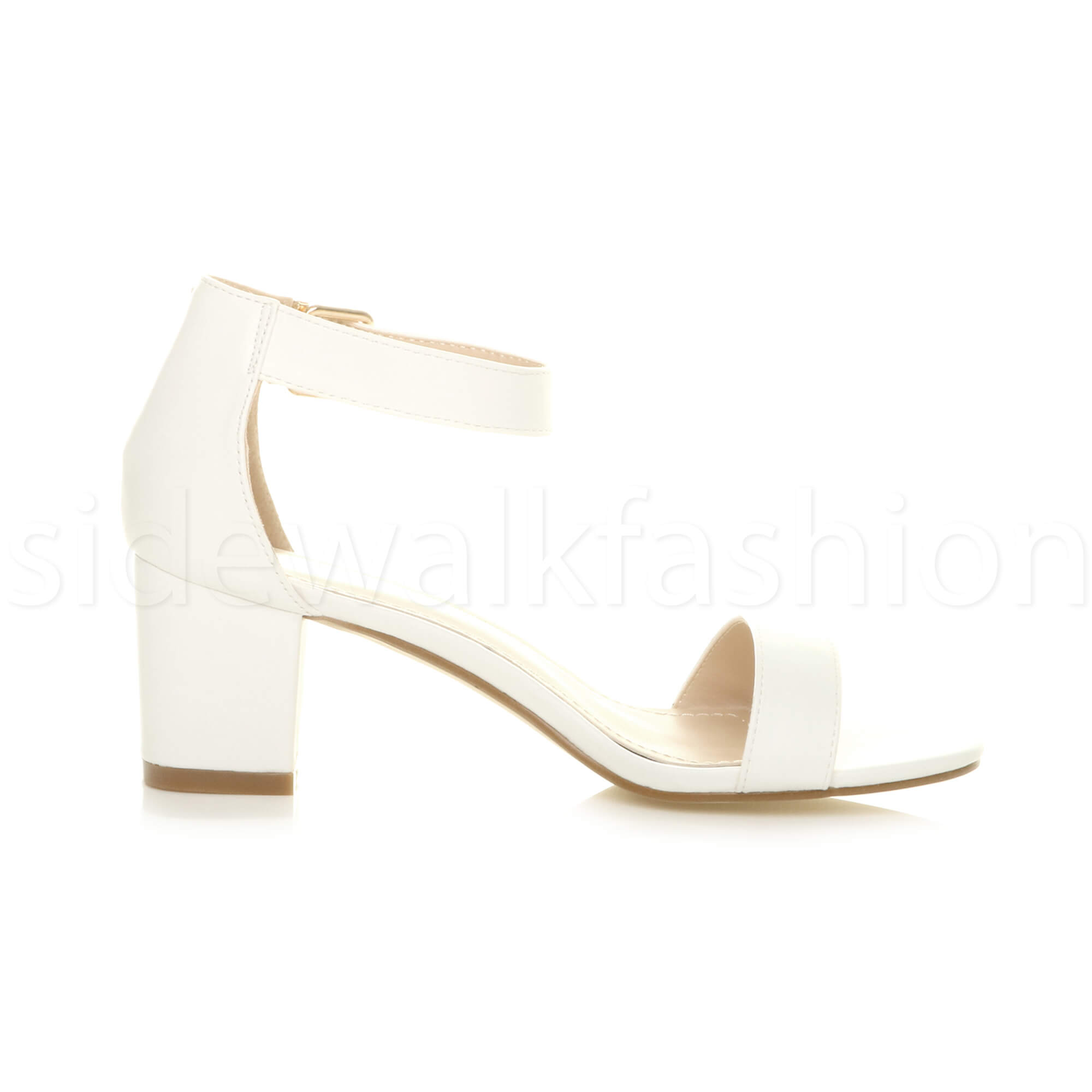 Womens-ladies-low-mid-heel-buckle-ankle-strap-peep-toe-party-strappy-sandal-size thumbnail 156